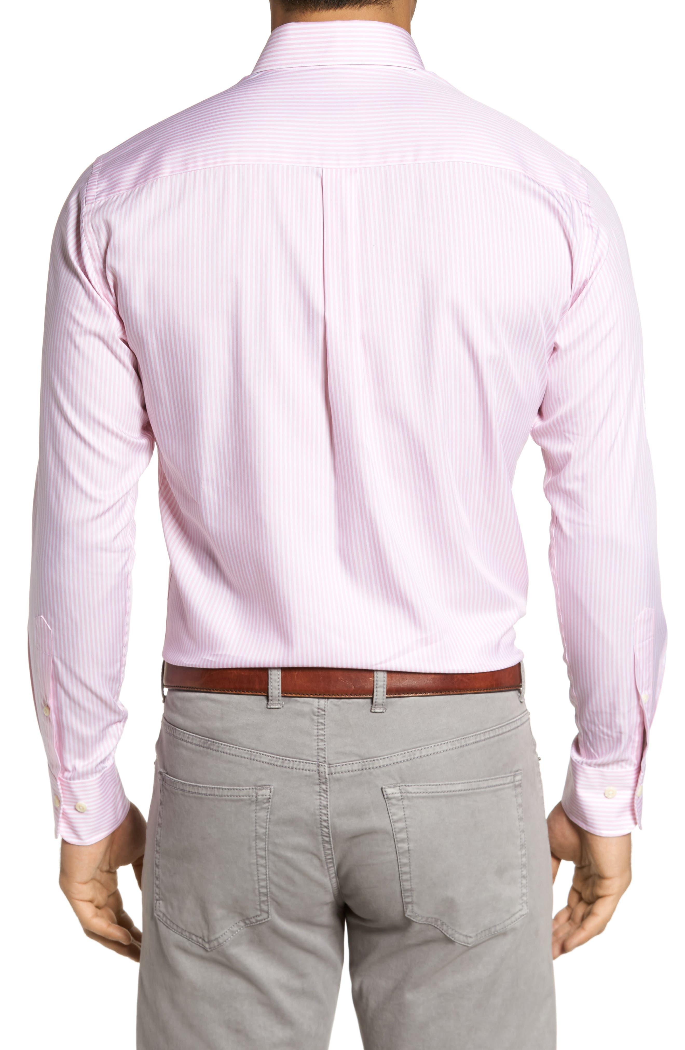 Classic Fit Crown Soft Longshot Stripe Sport Shirt,                             Alternate thumbnail 4, color,