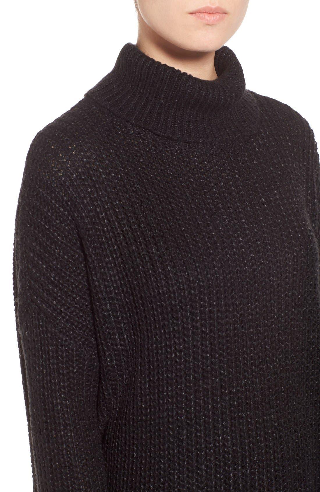 Oversize Turtleneck Sweater,                             Alternate thumbnail 4, color,                             001