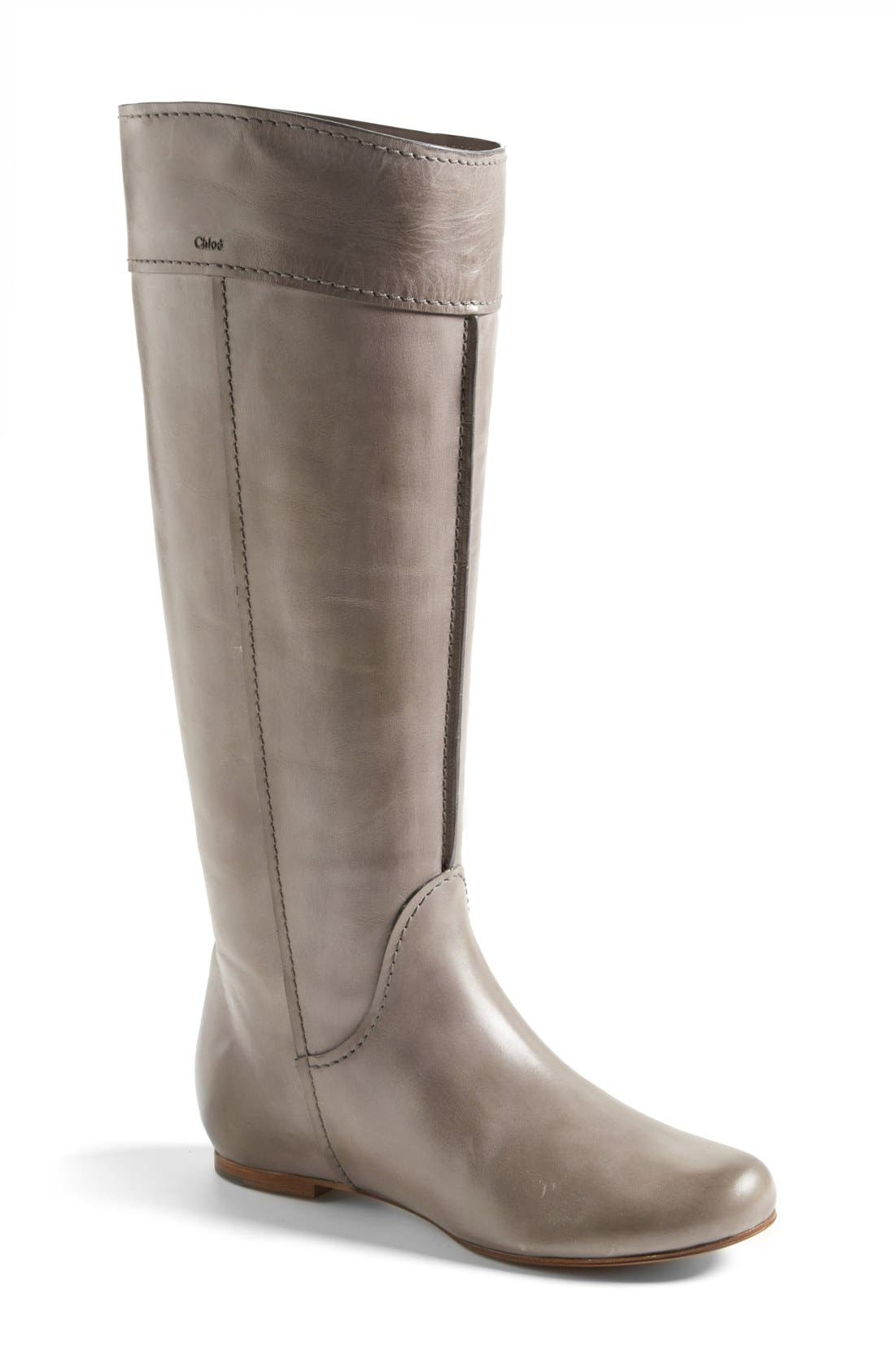 'Heloise' Tall Calfskin Leather Boot, Main, color, 020