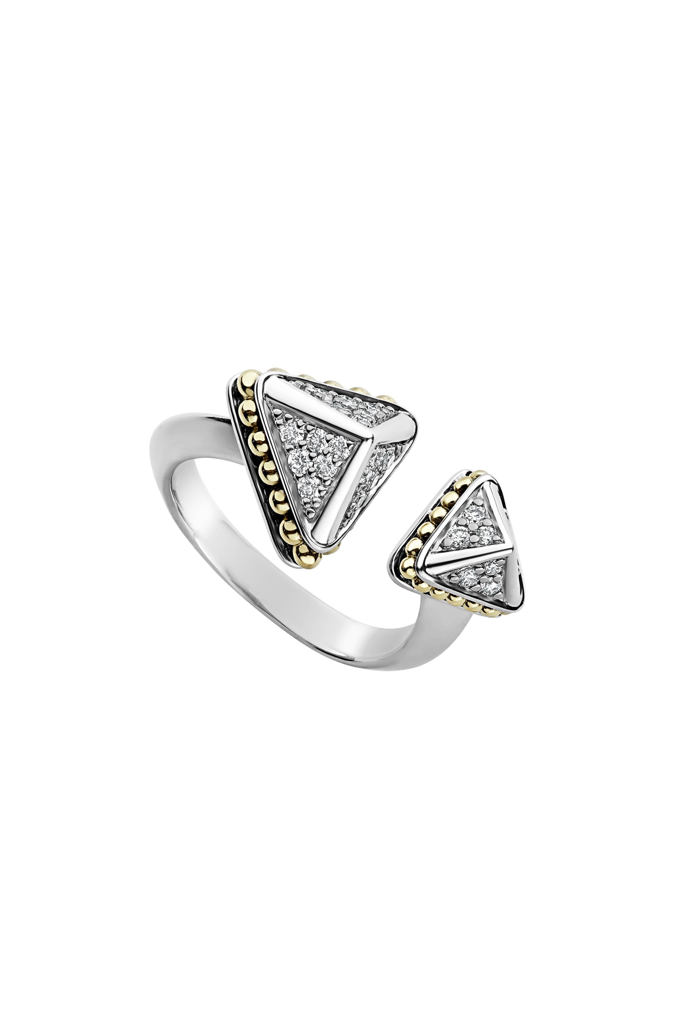 18K Yellow Gold & Sterling Silver Ksl Luxe Diamond Asymmetrical Pyramid Cuff Ring in Silver/ Diamond