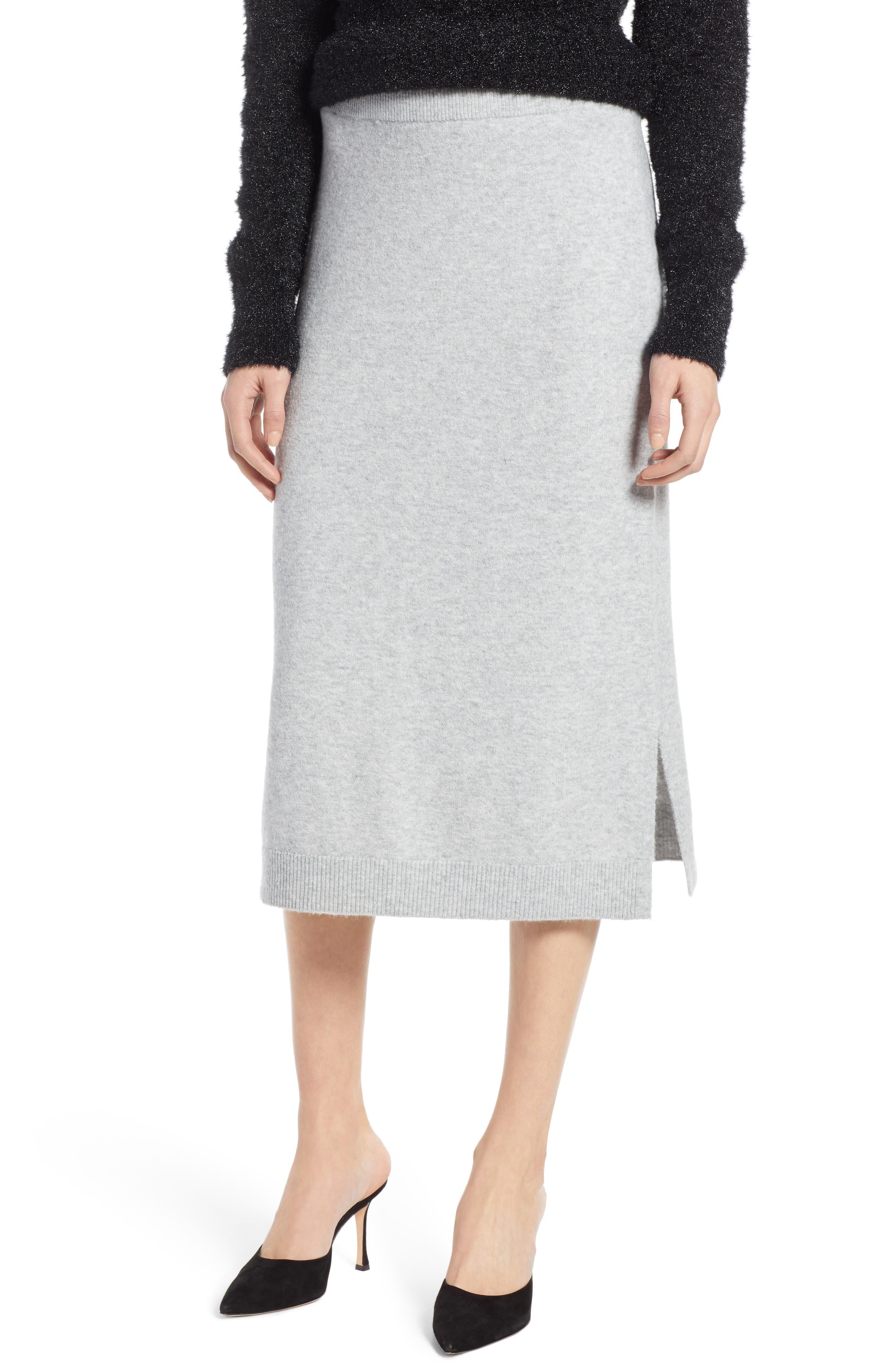 Halogen Sweater Pencil Sweater Skirt, Grey