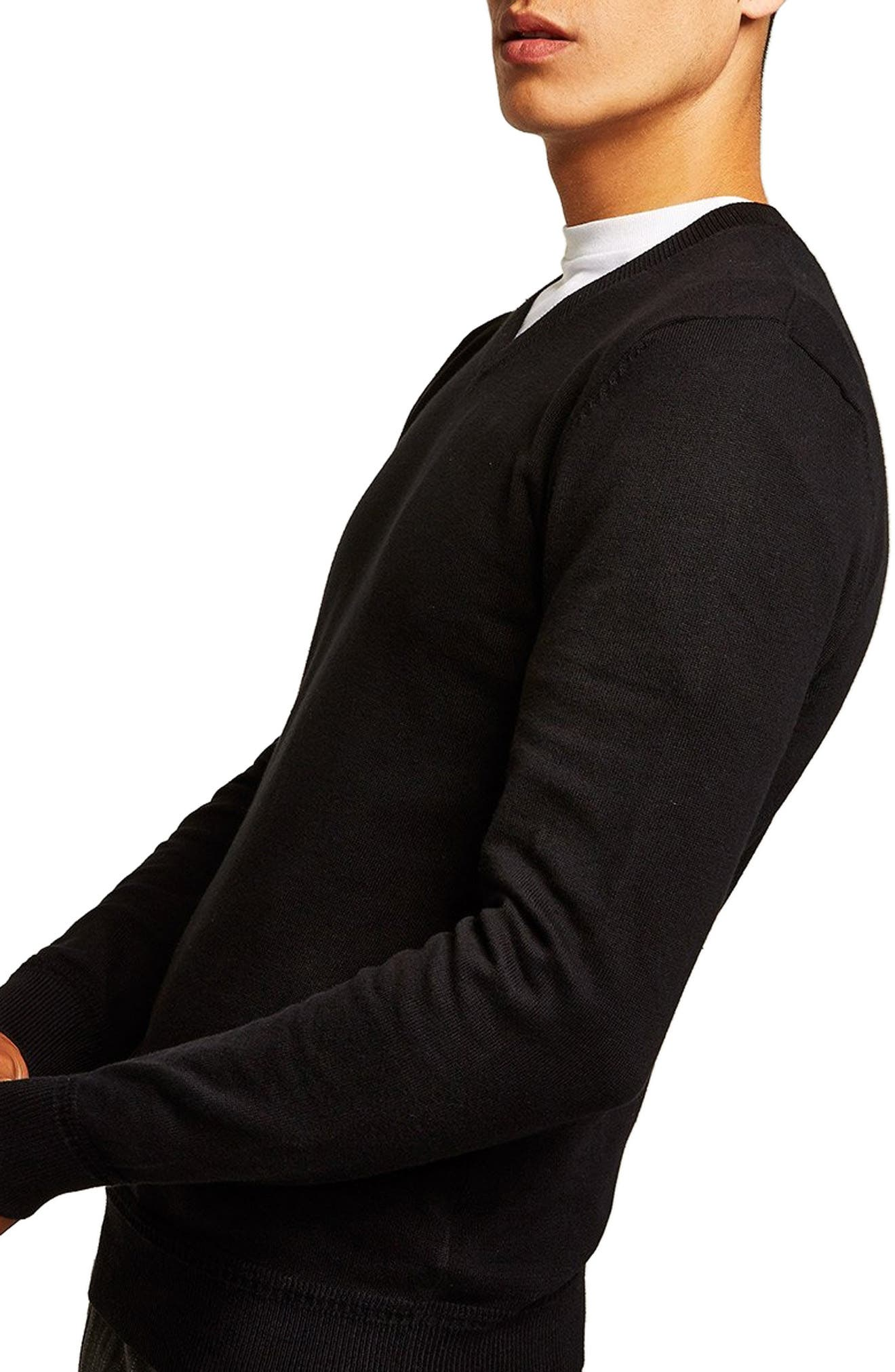 Classic V-Neck Sweater,                             Alternate thumbnail 3, color,                             BLACK