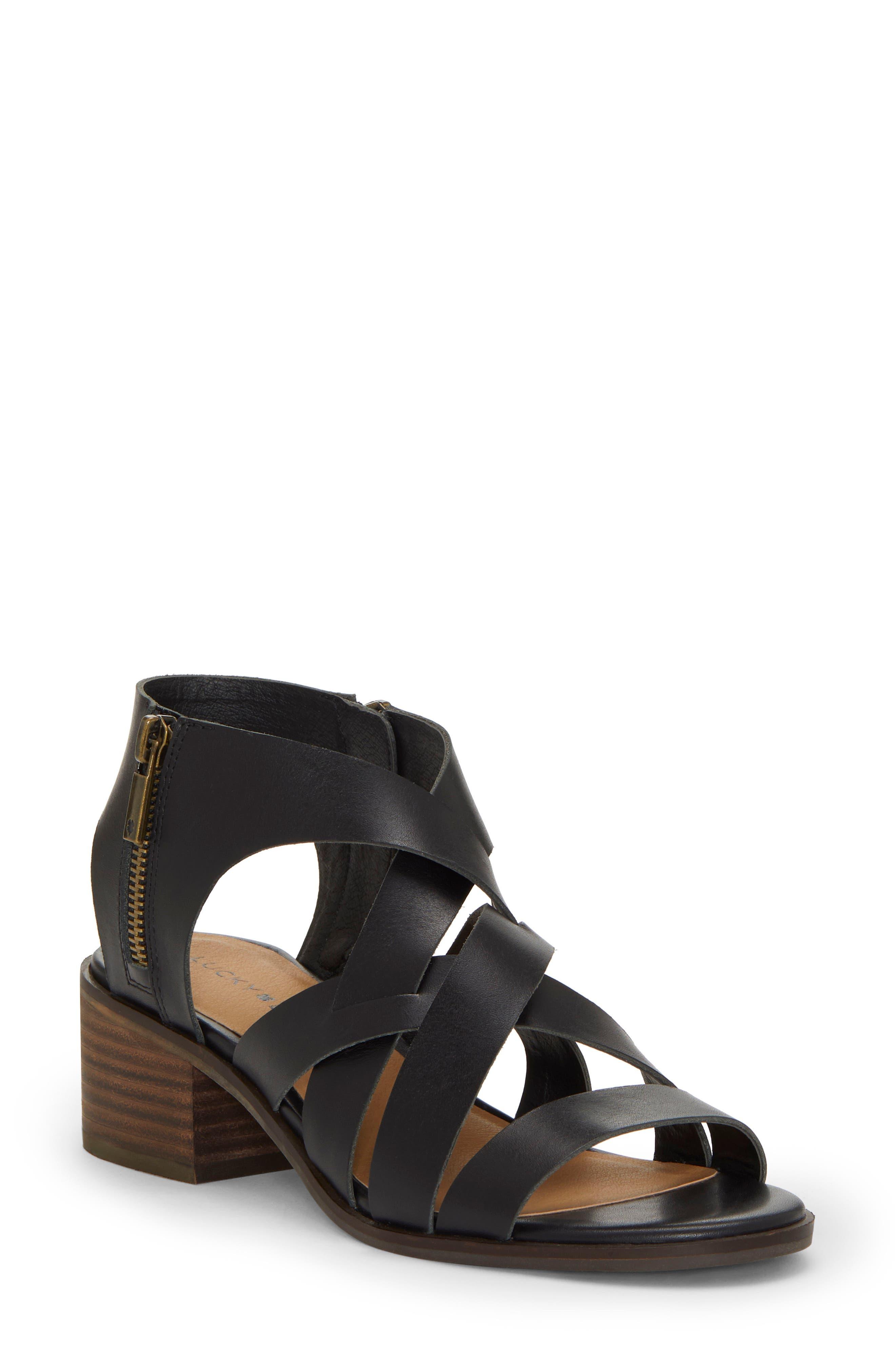 Nayeli Sandal, Main, color, BLACK LEATHER