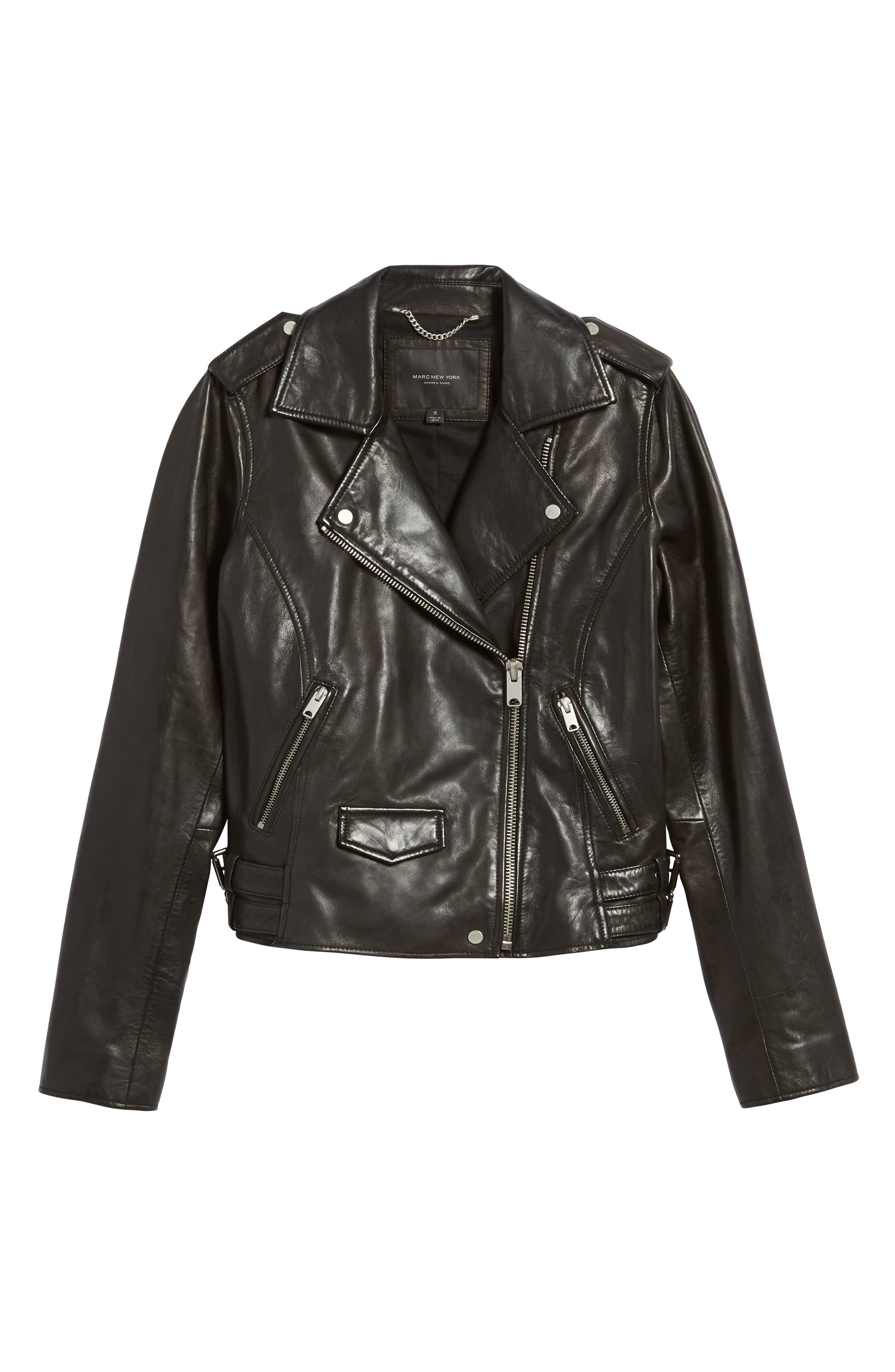 Andrew Marc Wesley Washed Leather Biker Jacket,                             Alternate thumbnail 5, color,                             001