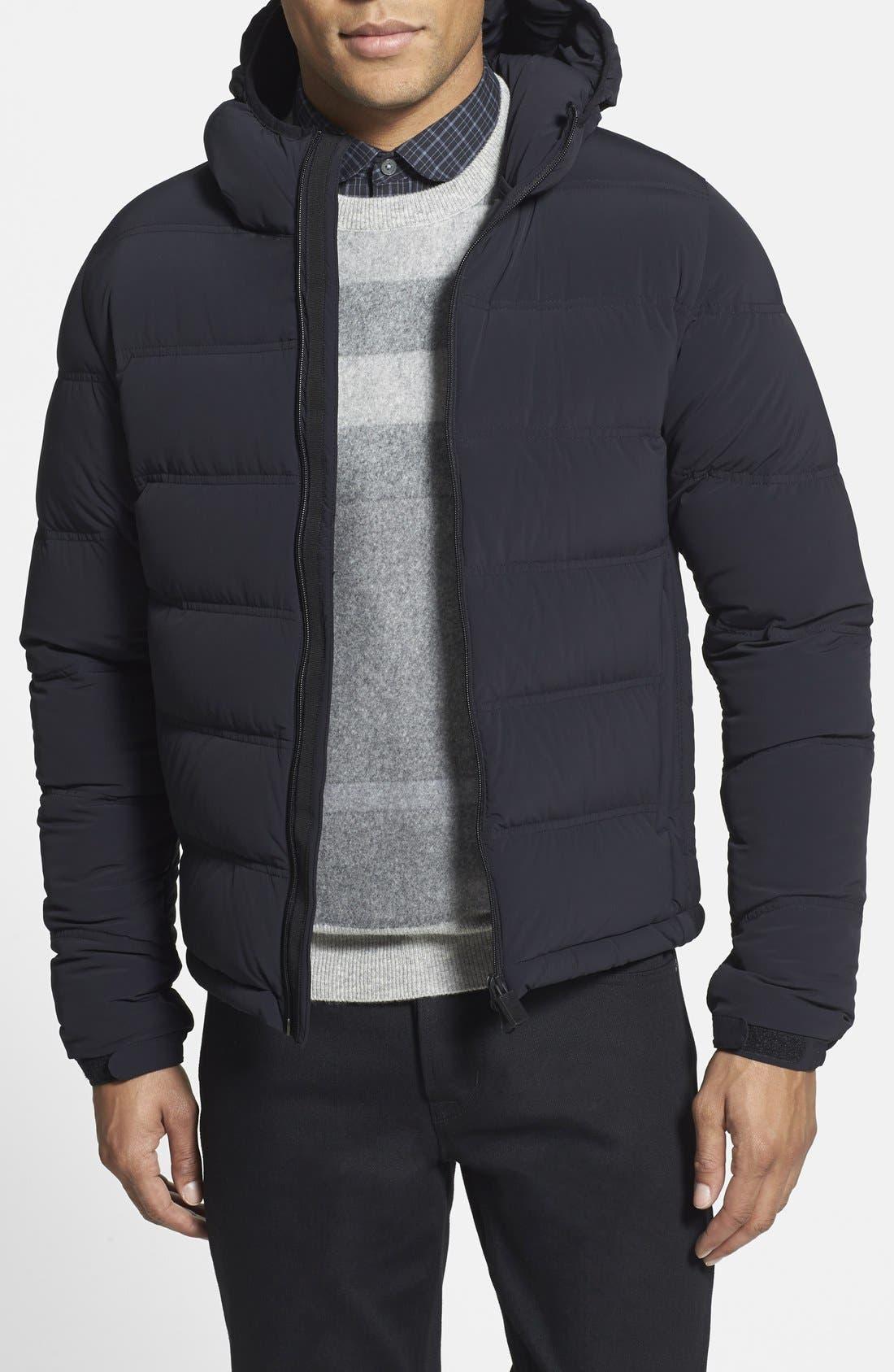 ASPESI,                             'Elastico' Trim Fit Hooded Puffer Jacket,                             Main thumbnail 1, color,                             001