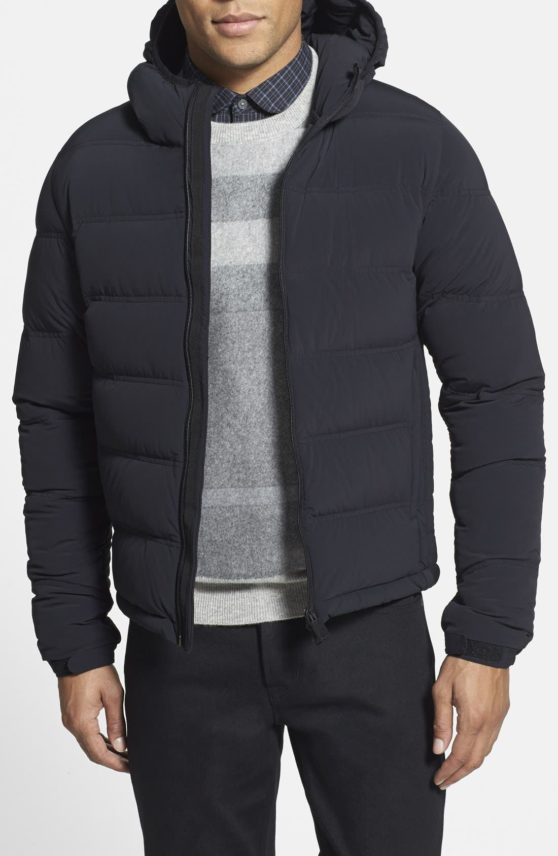 ASPESI 'Elastico' Trim Fit Hooded Puffer Jacket, Main, color, 001