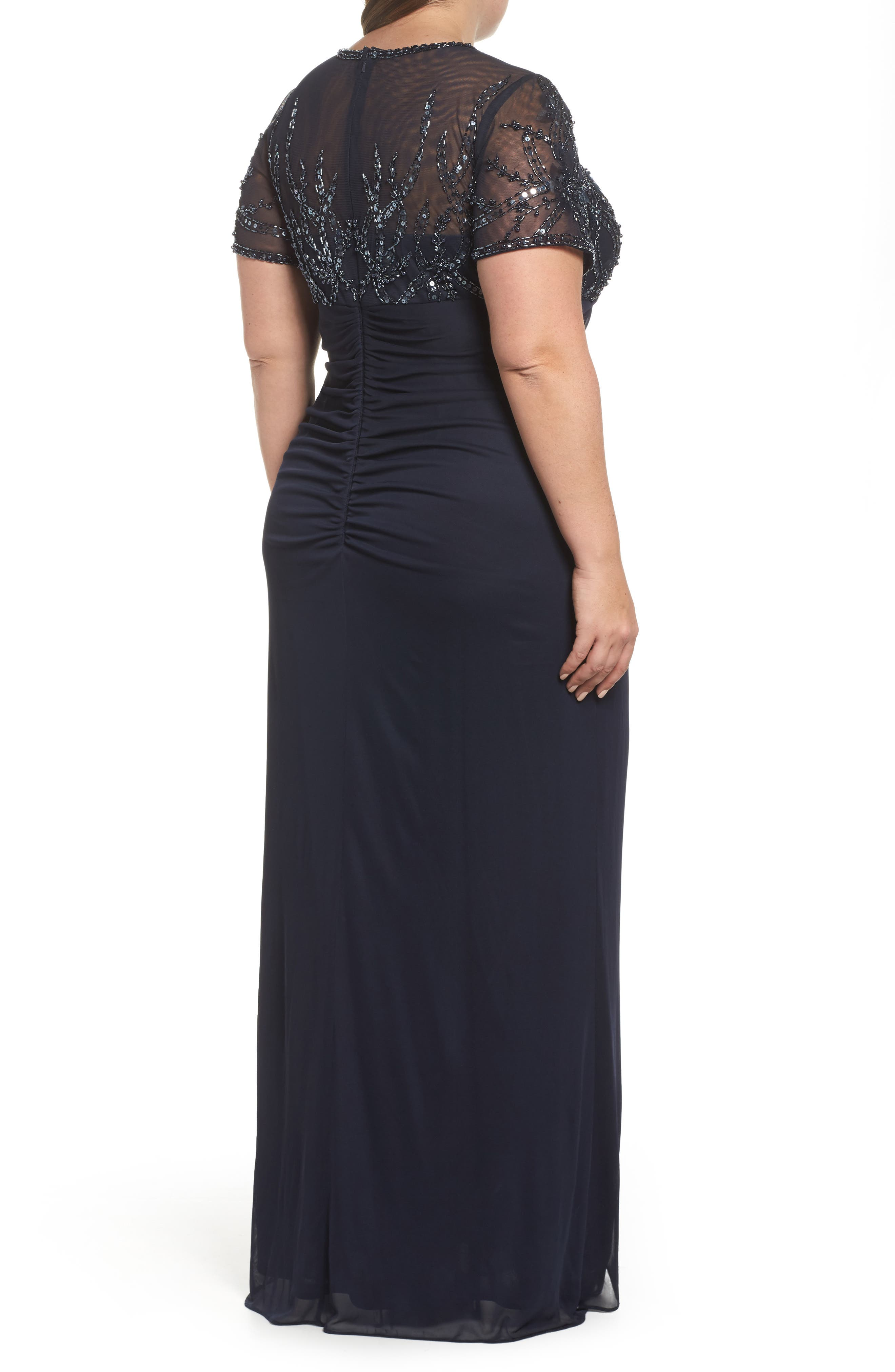 Ruched Beaded Gown,                             Alternate thumbnail 2, color,                             NAVY