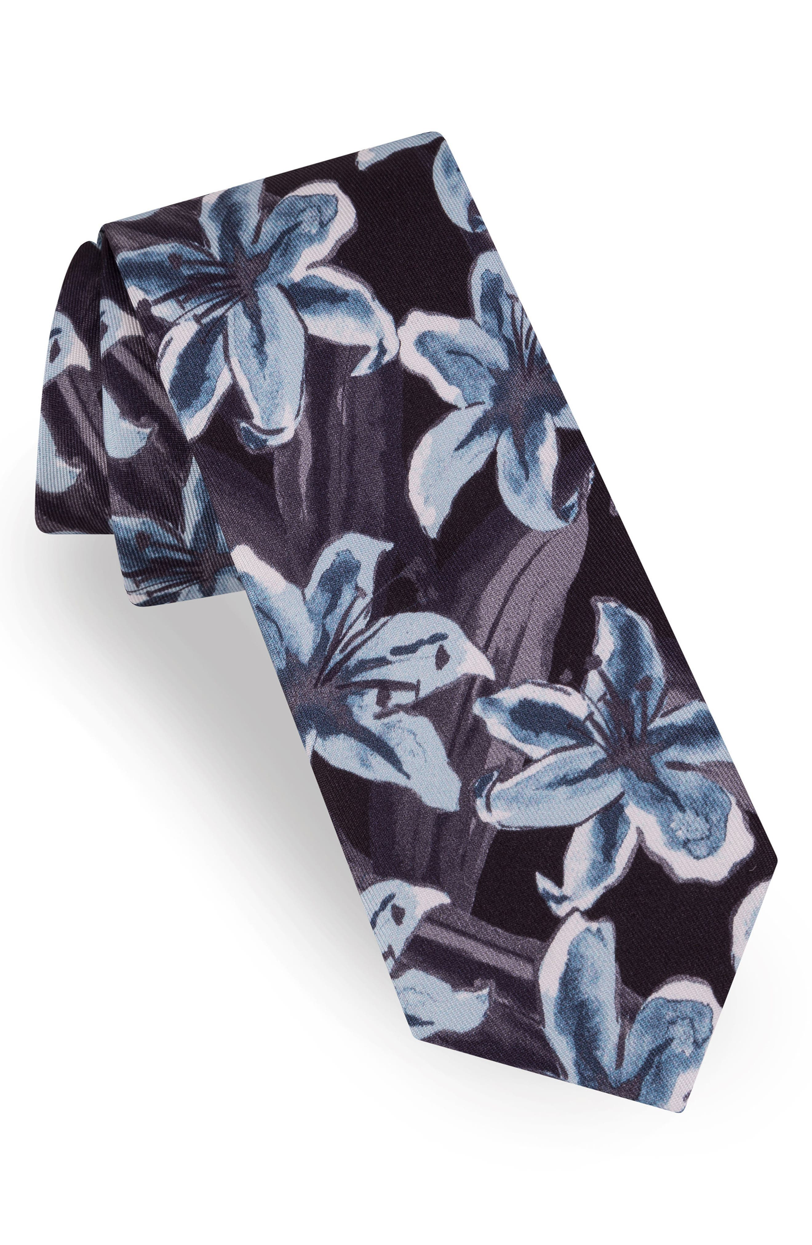 Lily Print Silk Tie,                             Main thumbnail 1, color,                             020