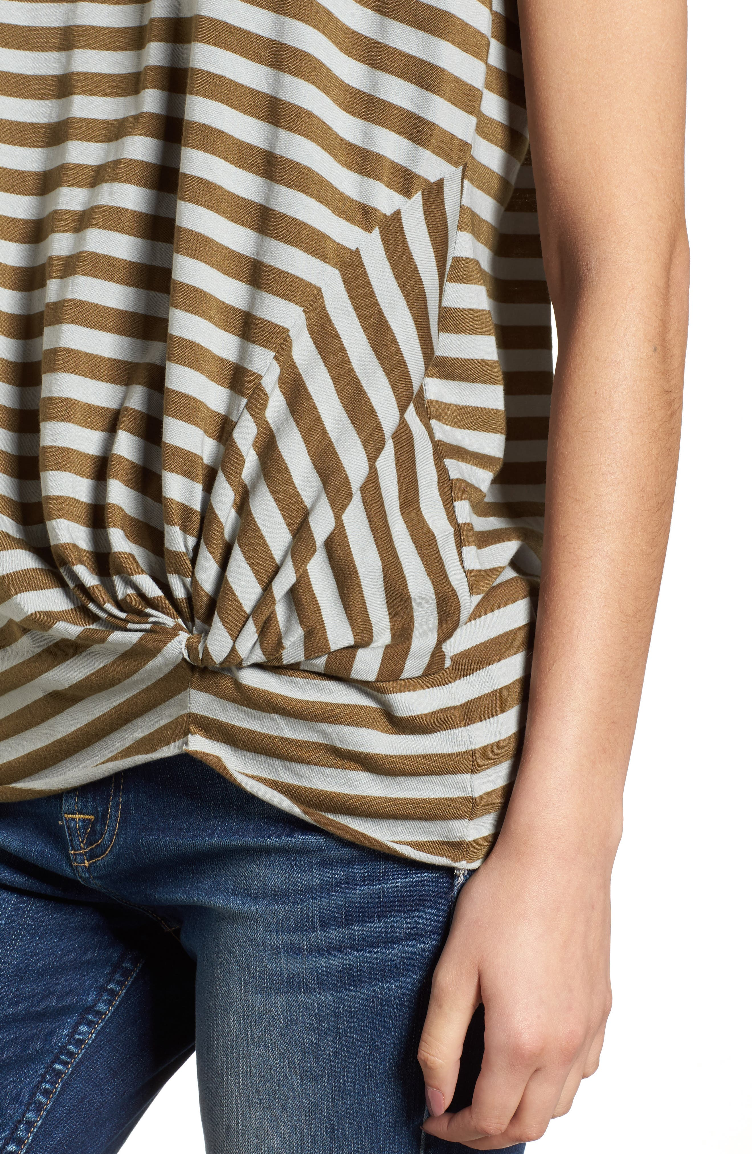 Fern Stripe Twist Front Tee,                             Alternate thumbnail 4, color,                             040