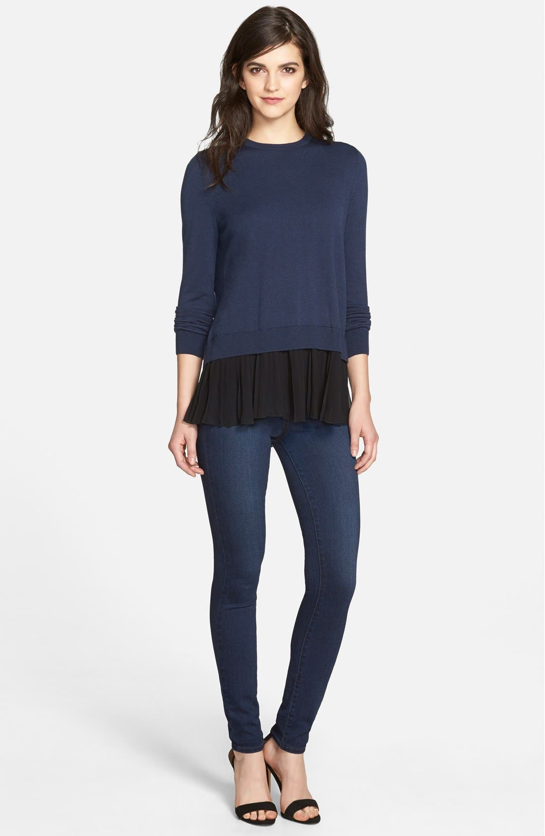 Pleated Hem Sweater,                             Alternate thumbnail 8, color,                             410