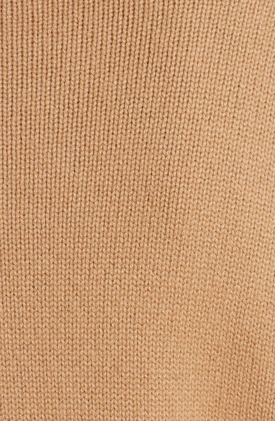 Studded Crewneck Cashmere Sweater,                             Alternate thumbnail 3, color,                             CAMEL