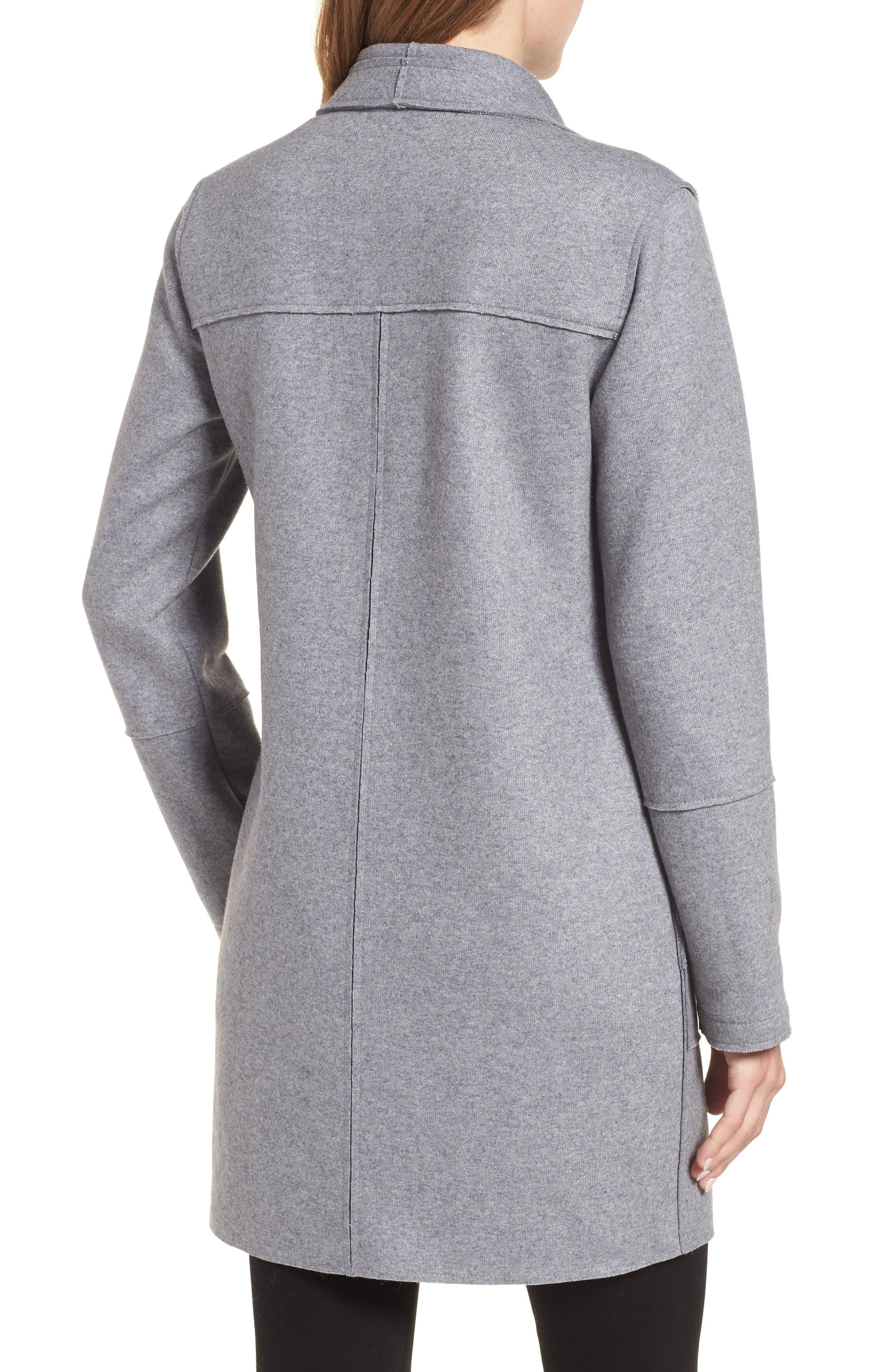 Envelope Collar Wool Blend Knit Coat,                             Alternate thumbnail 2, color,                             LIGHT GREY