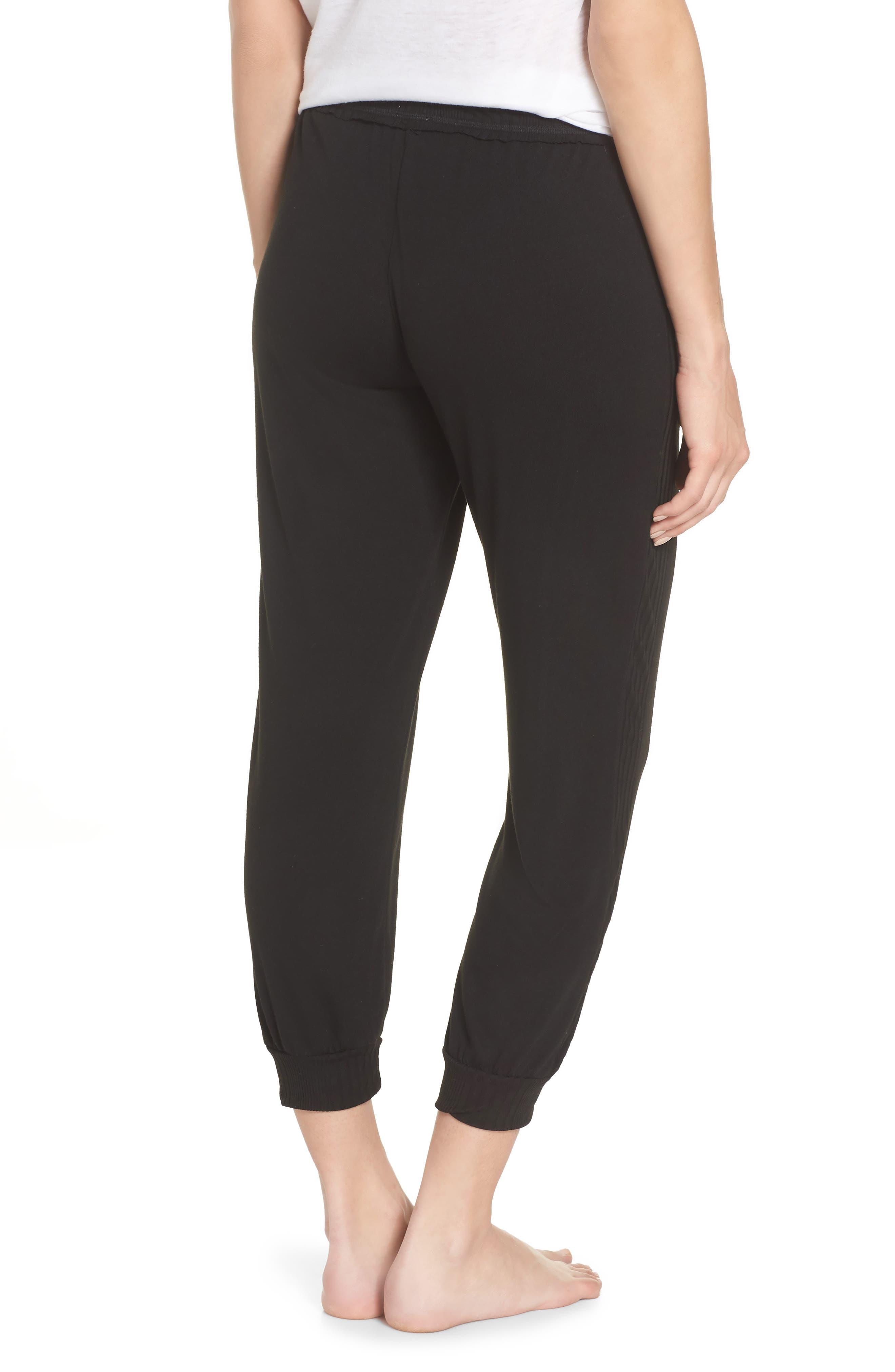 Crop Pajama Pants,                             Alternate thumbnail 2, color,                             BLACK