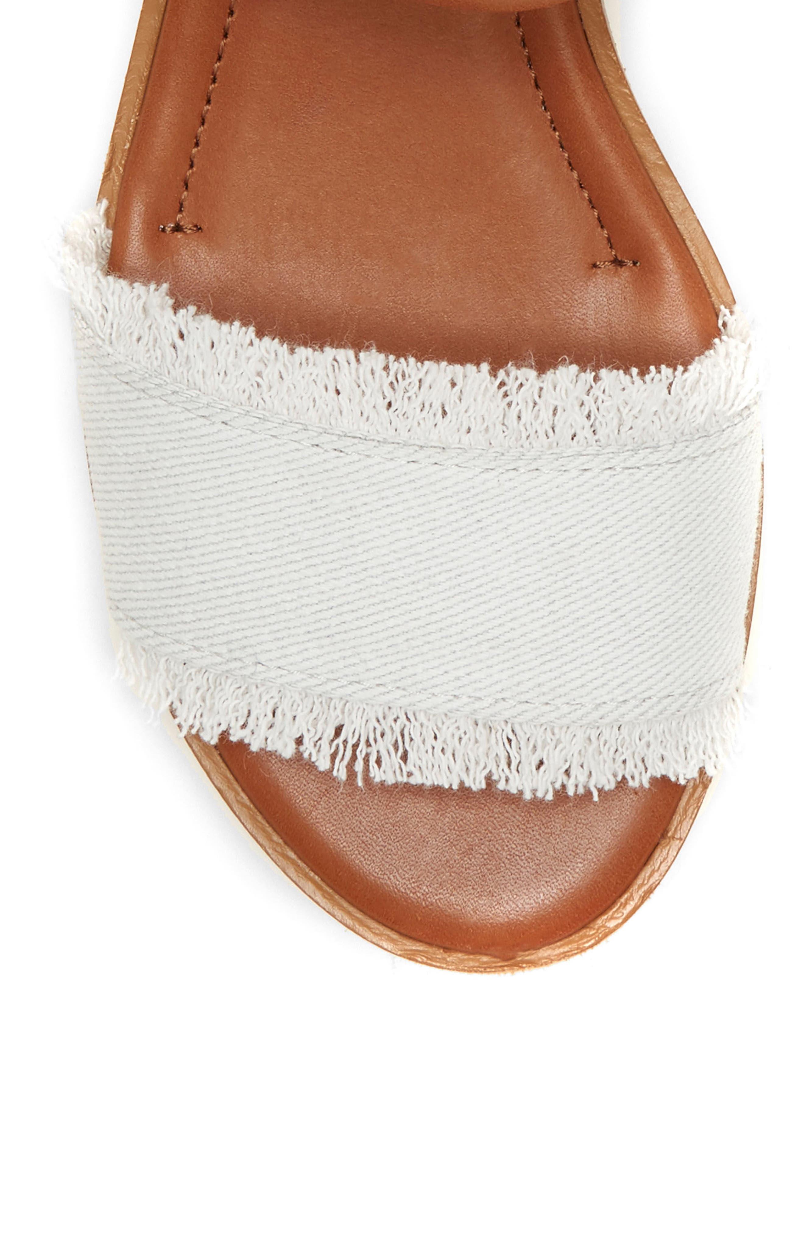 Satiana Sandal,                             Alternate thumbnail 5, color,                             PURE WHITE DENIM FABRIC