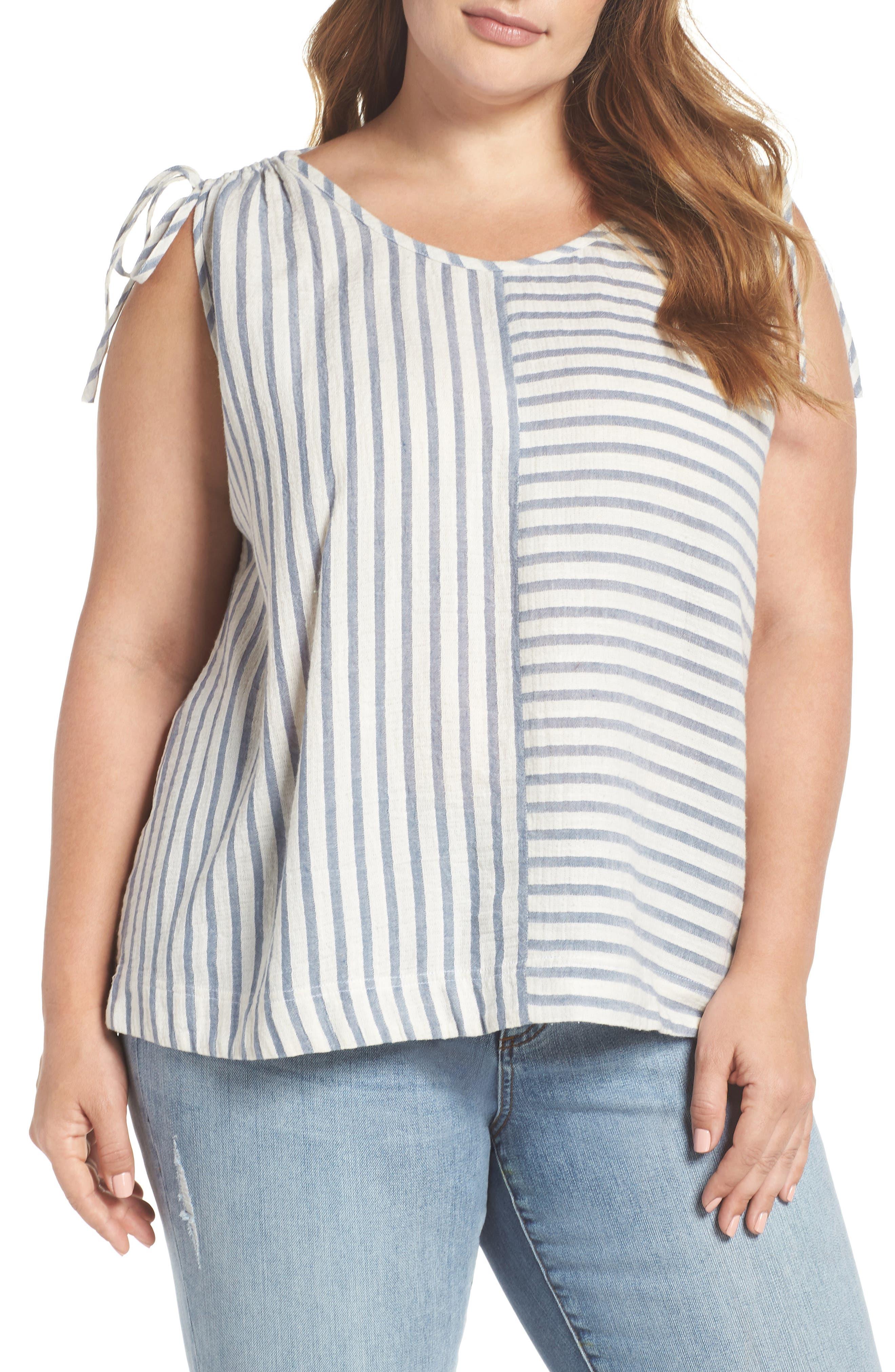 CASLON<SUP>®</SUP> Tie Shoulder Stripe Tank, Main, color, 901