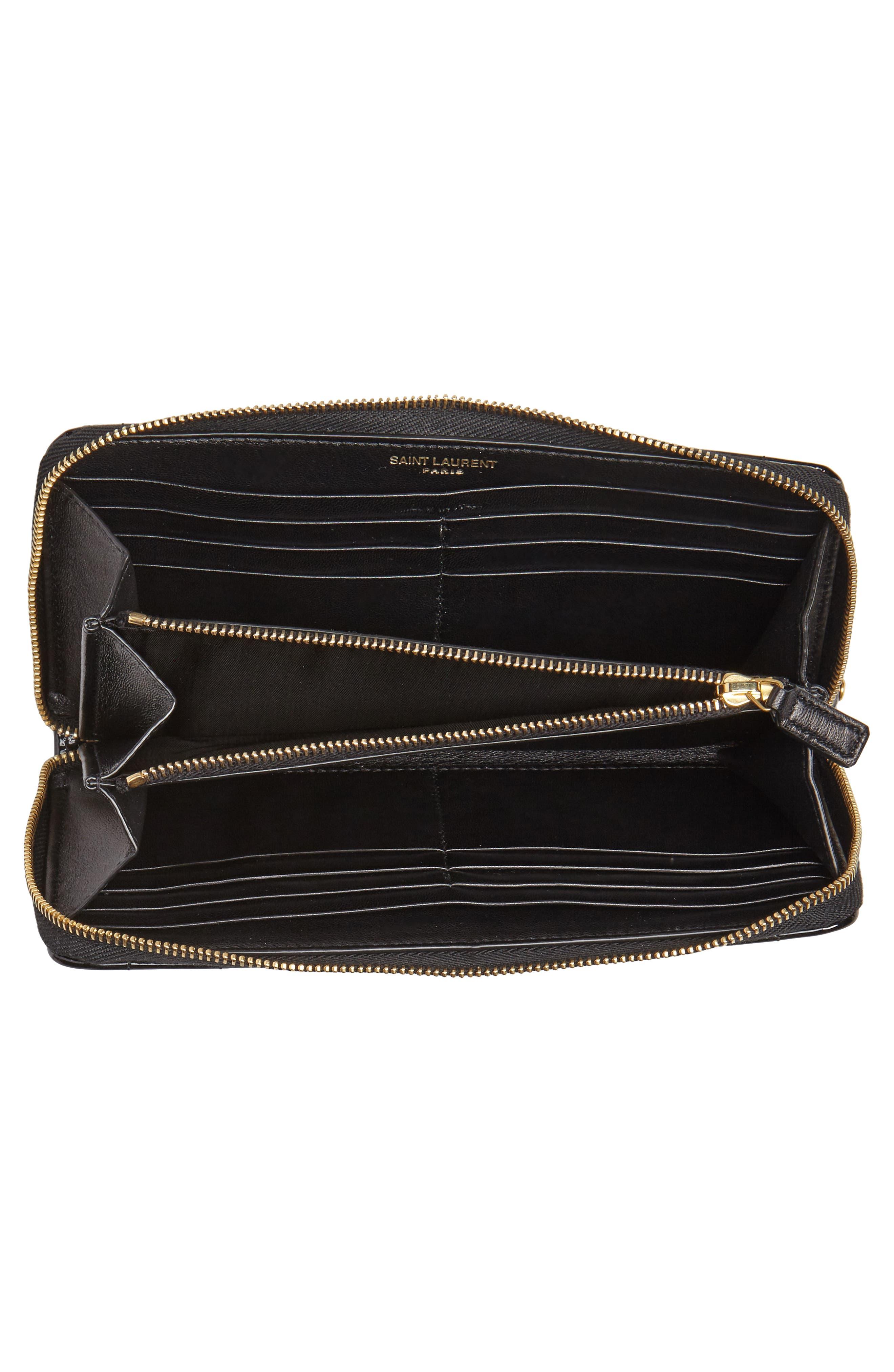 SAINT LAURENT,                             Vicky Patent Leather Zip Around Wallet,                             Alternate thumbnail 4, color,                             NOIR
