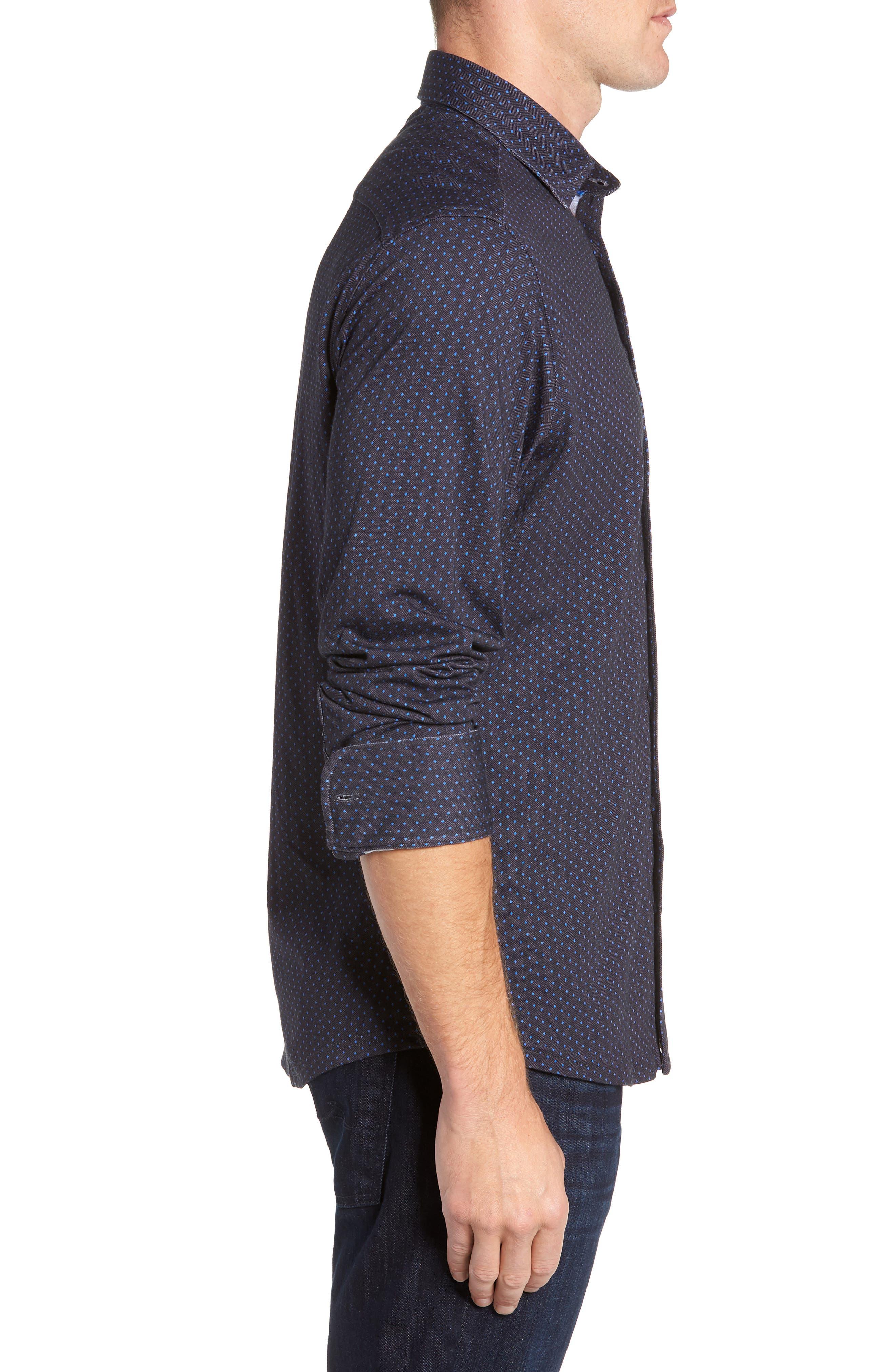 Regular Fit Knit Sport Shirt,                             Alternate thumbnail 4, color,                             BLACK