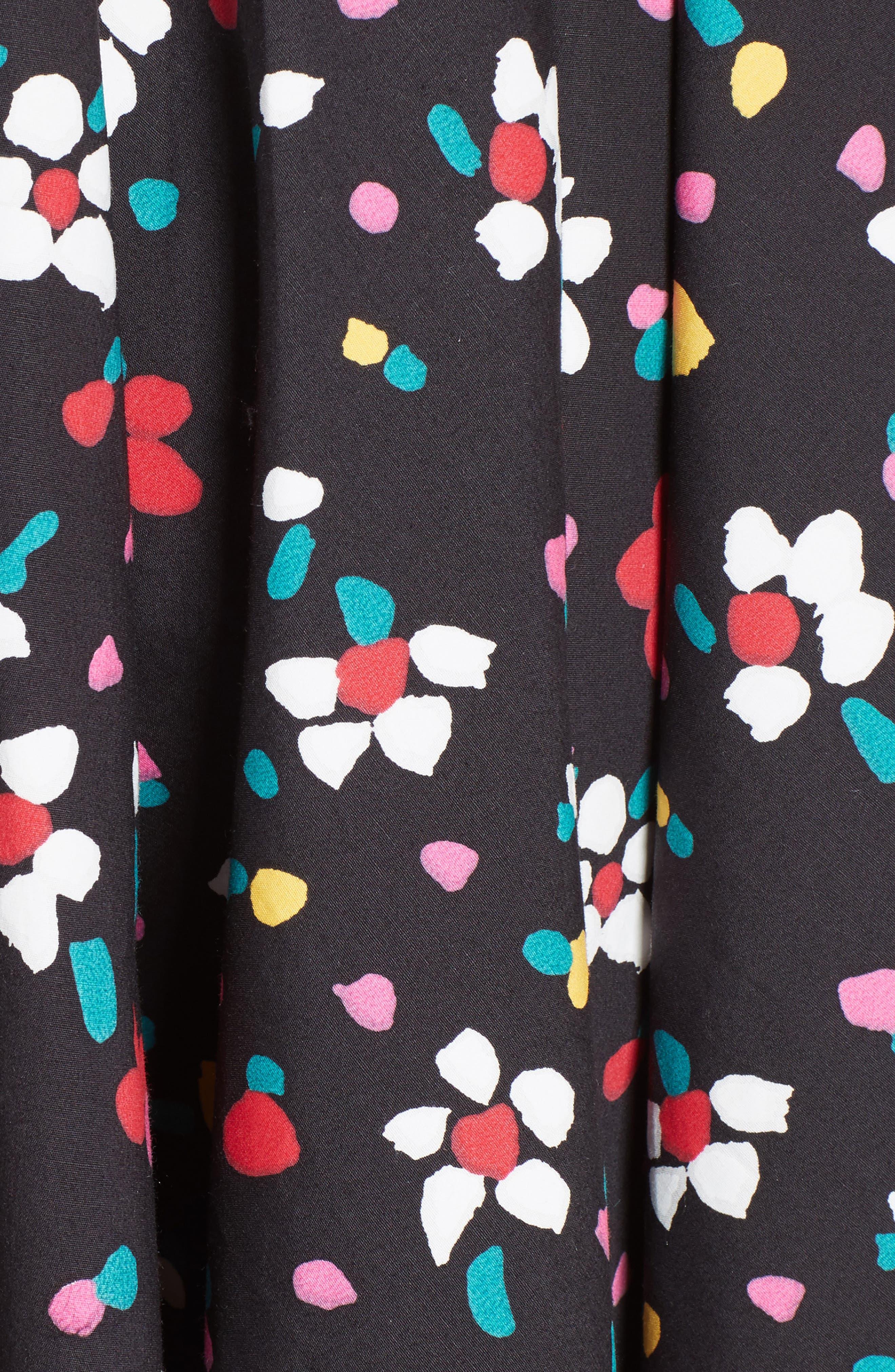 Floral Print Poplin Fit & Flare Dress,                             Alternate thumbnail 5, color,