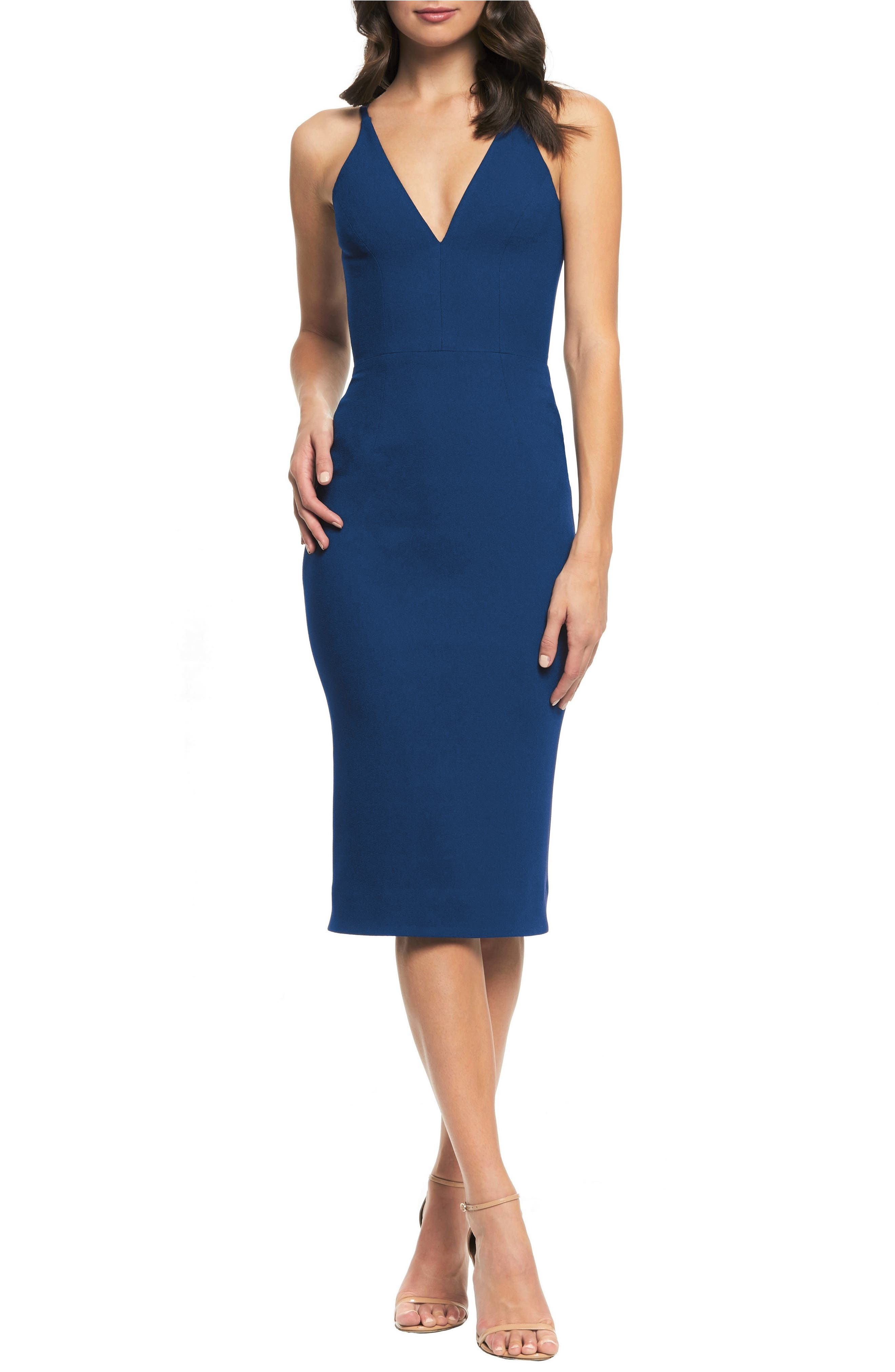 Lyla Crepe Sheath Dress,                         Main,                         color, PACIFIC