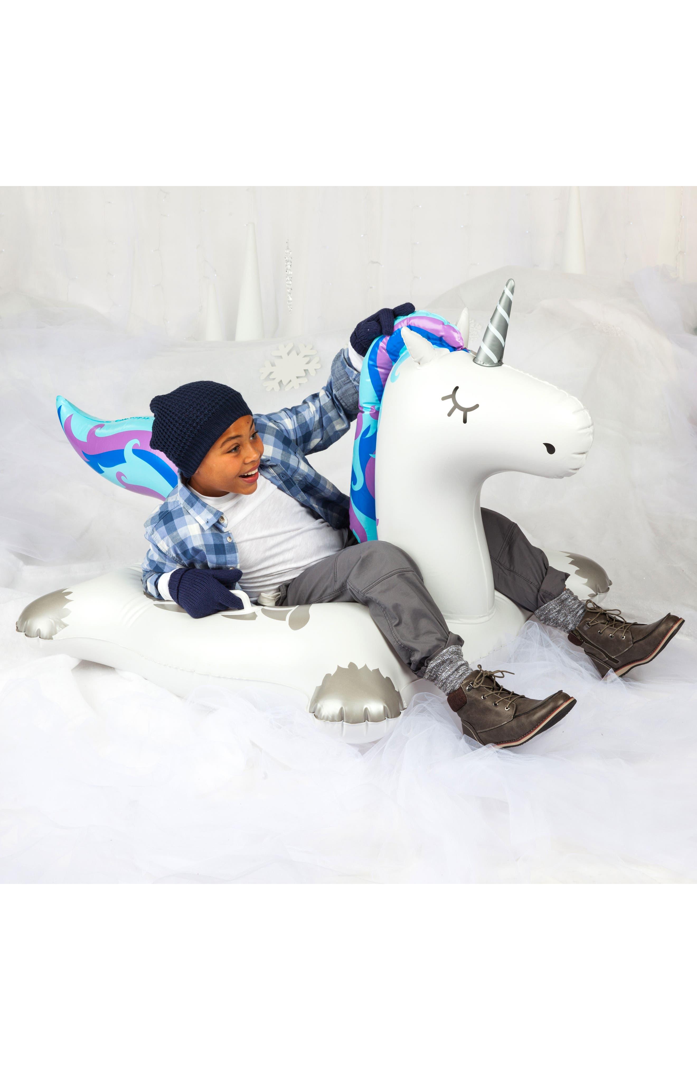Winter Unicorn Inflatable Snow Tube,                             Alternate thumbnail 4, color,                             100
