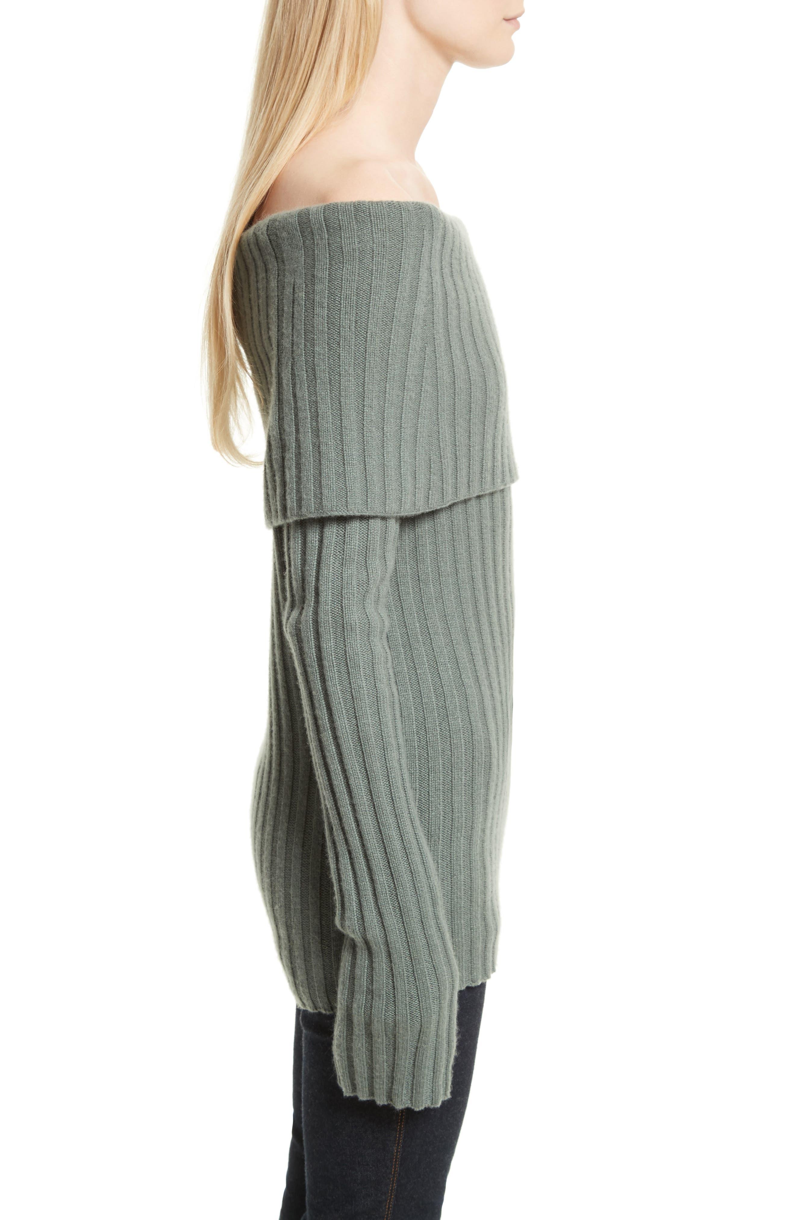 Off the Shoulder Cashmere Sweater,                             Alternate thumbnail 3, color,                             376