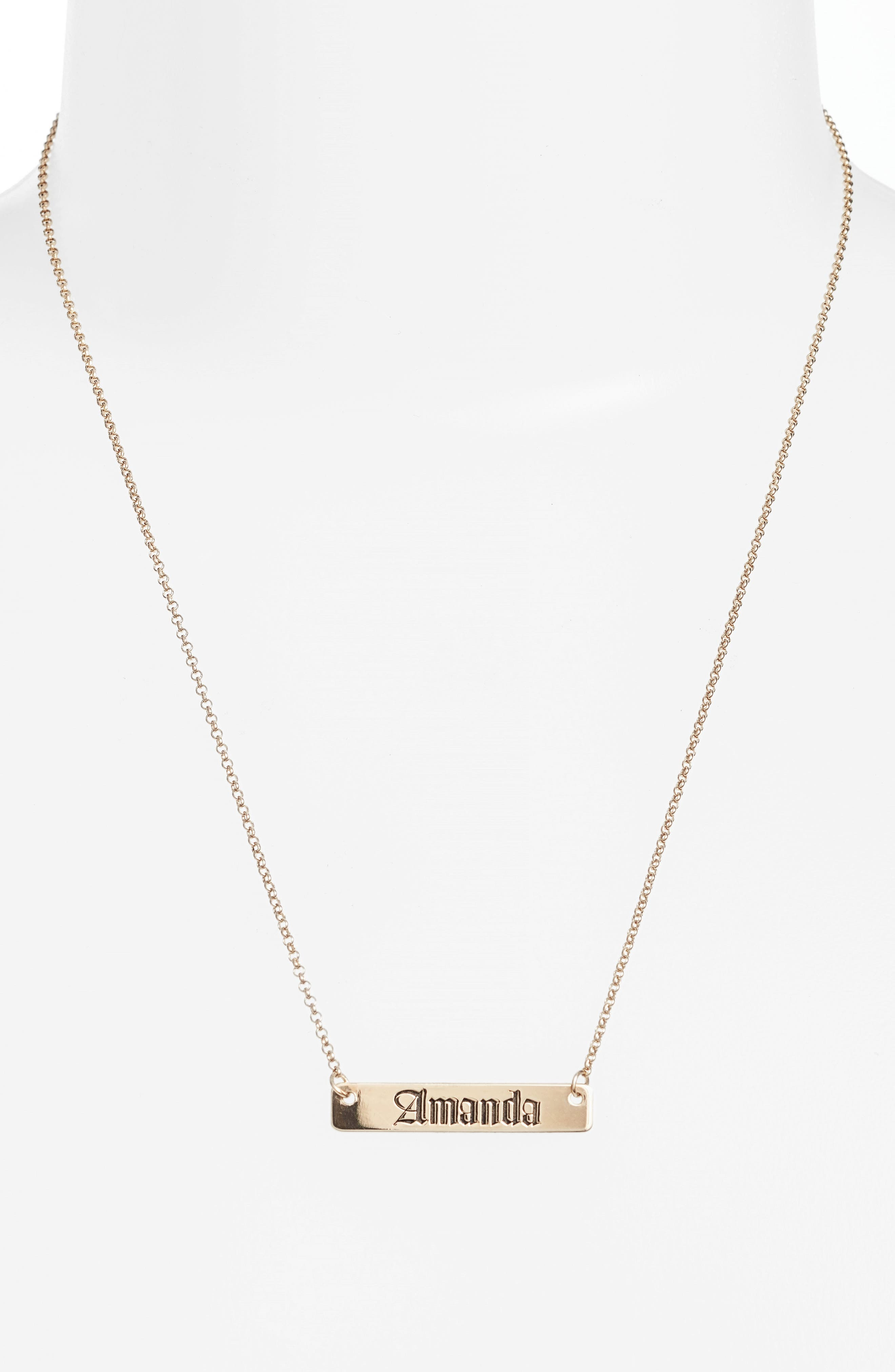 Personalized English Font Bar Necklace,                             Alternate thumbnail 2, color,                             SILVER
