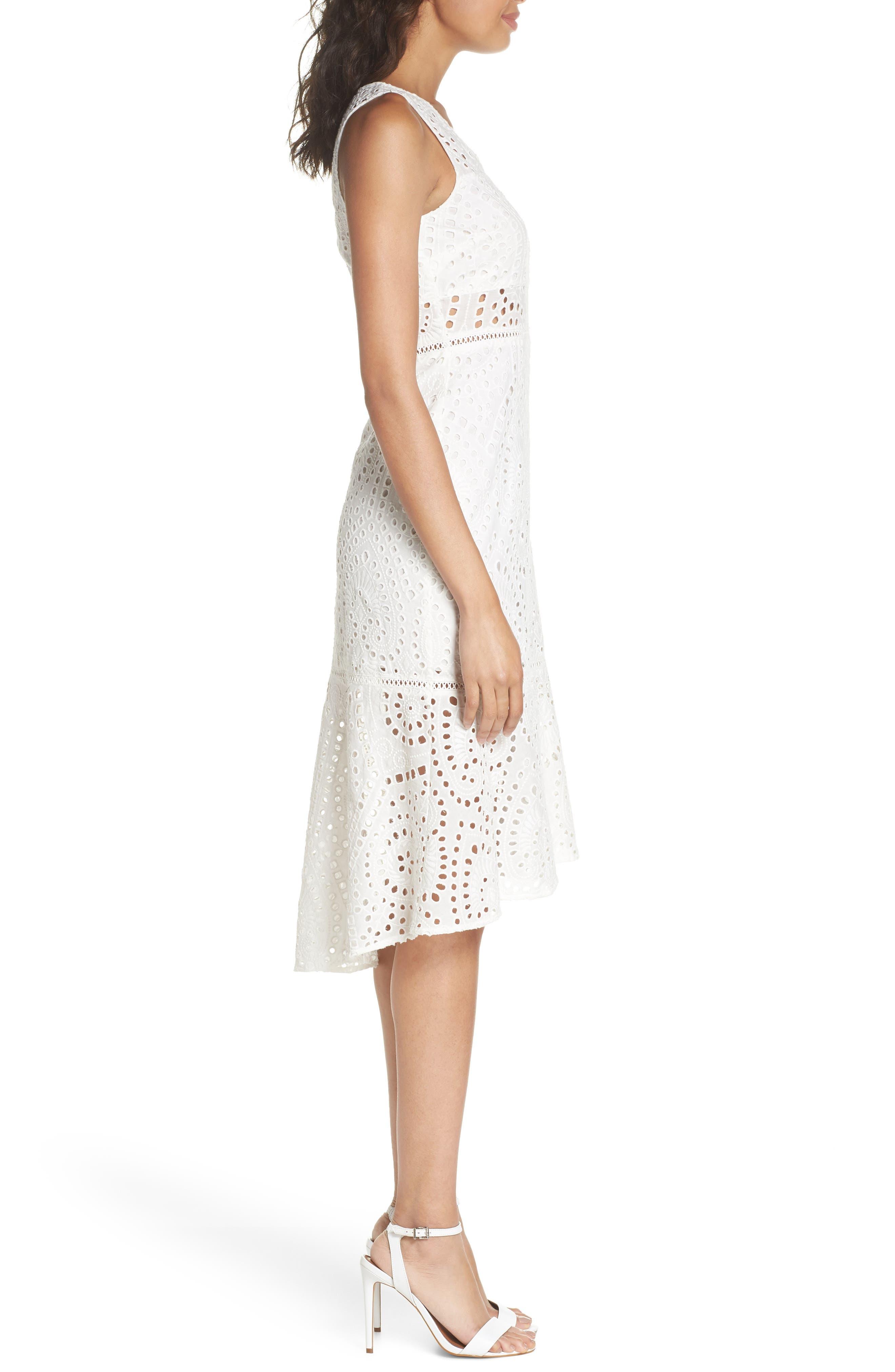 Selma Sleeveless Eyelet Dress,                             Alternate thumbnail 3, color,                             WHITE