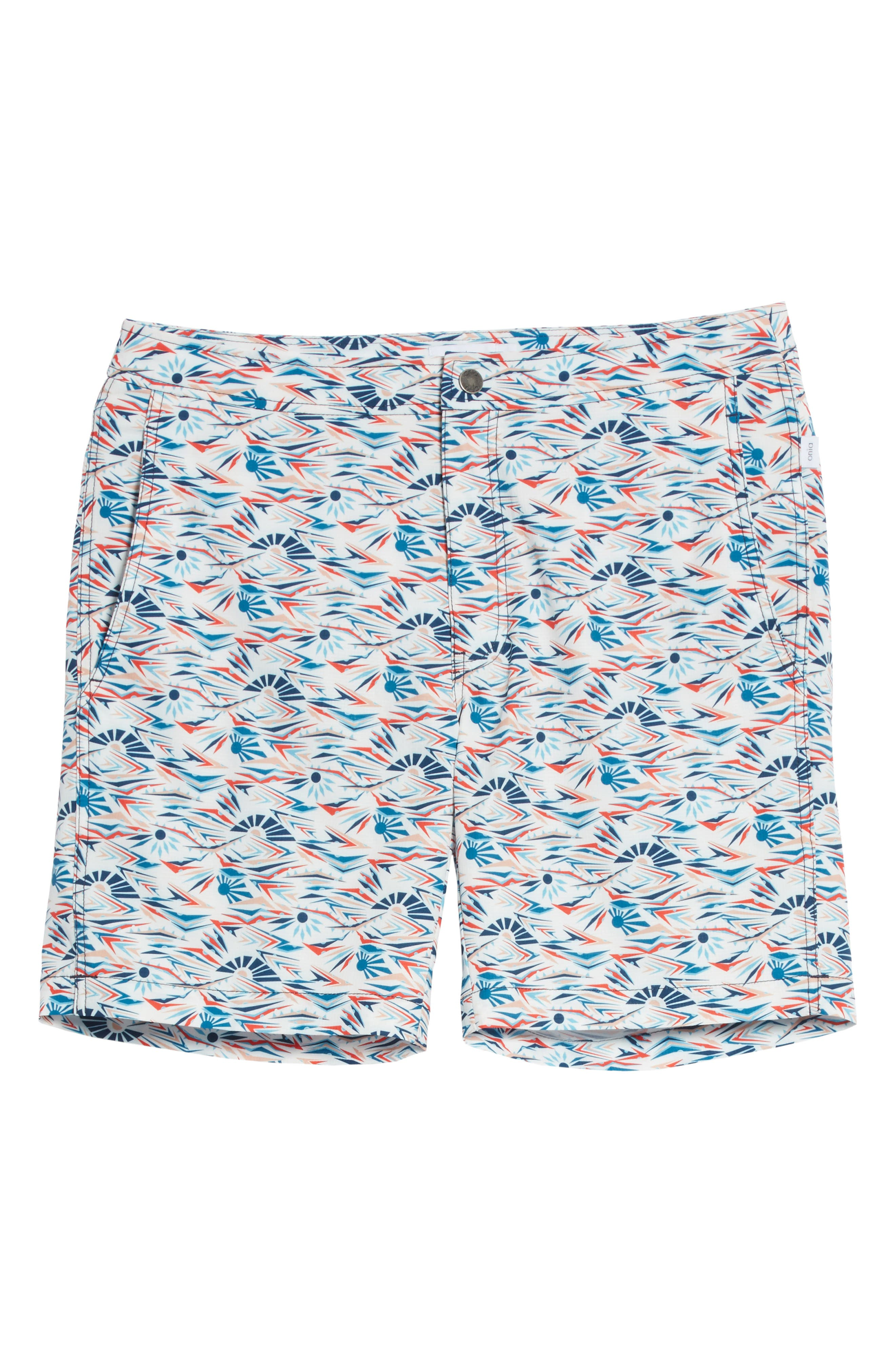 Calder Sunrise Print Swim Trunks,                             Alternate thumbnail 6, color,                             WHITE MULTI
