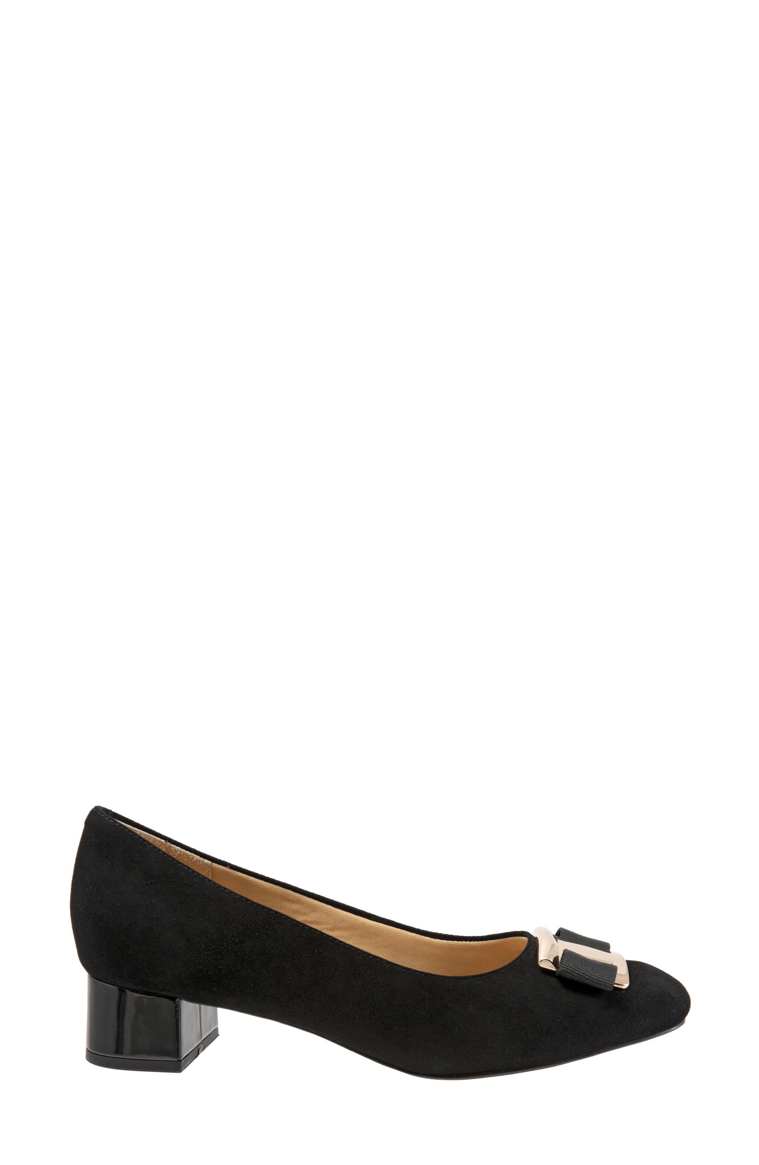 'Louise' Block Heel Pump,                             Alternate thumbnail 3, color,                             BLACK SUEDE