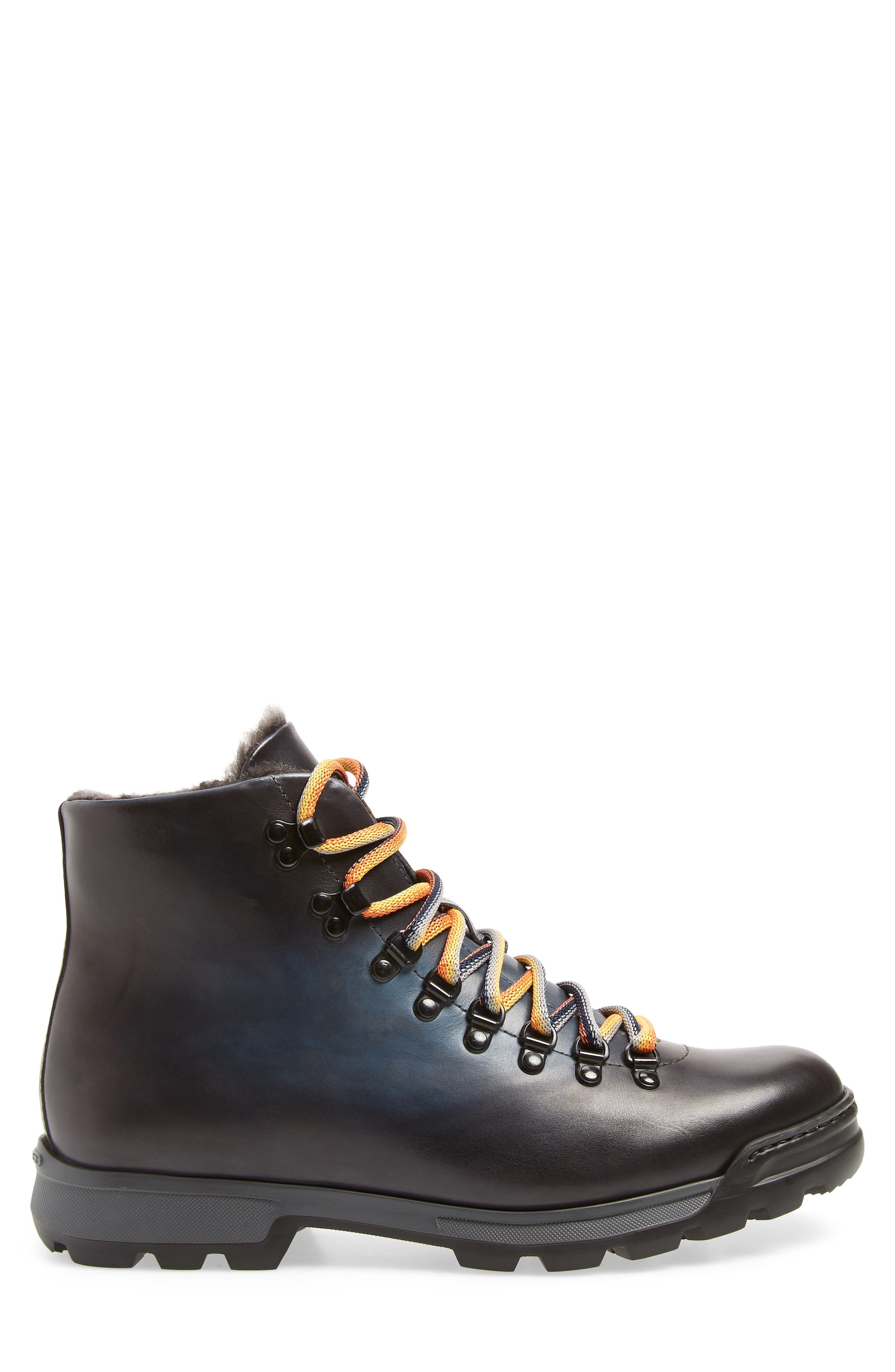 Oberon Genuine Shearling Lace-Up Hiking Boot,                             Alternate thumbnail 3, color,                             NAVY LEATHER