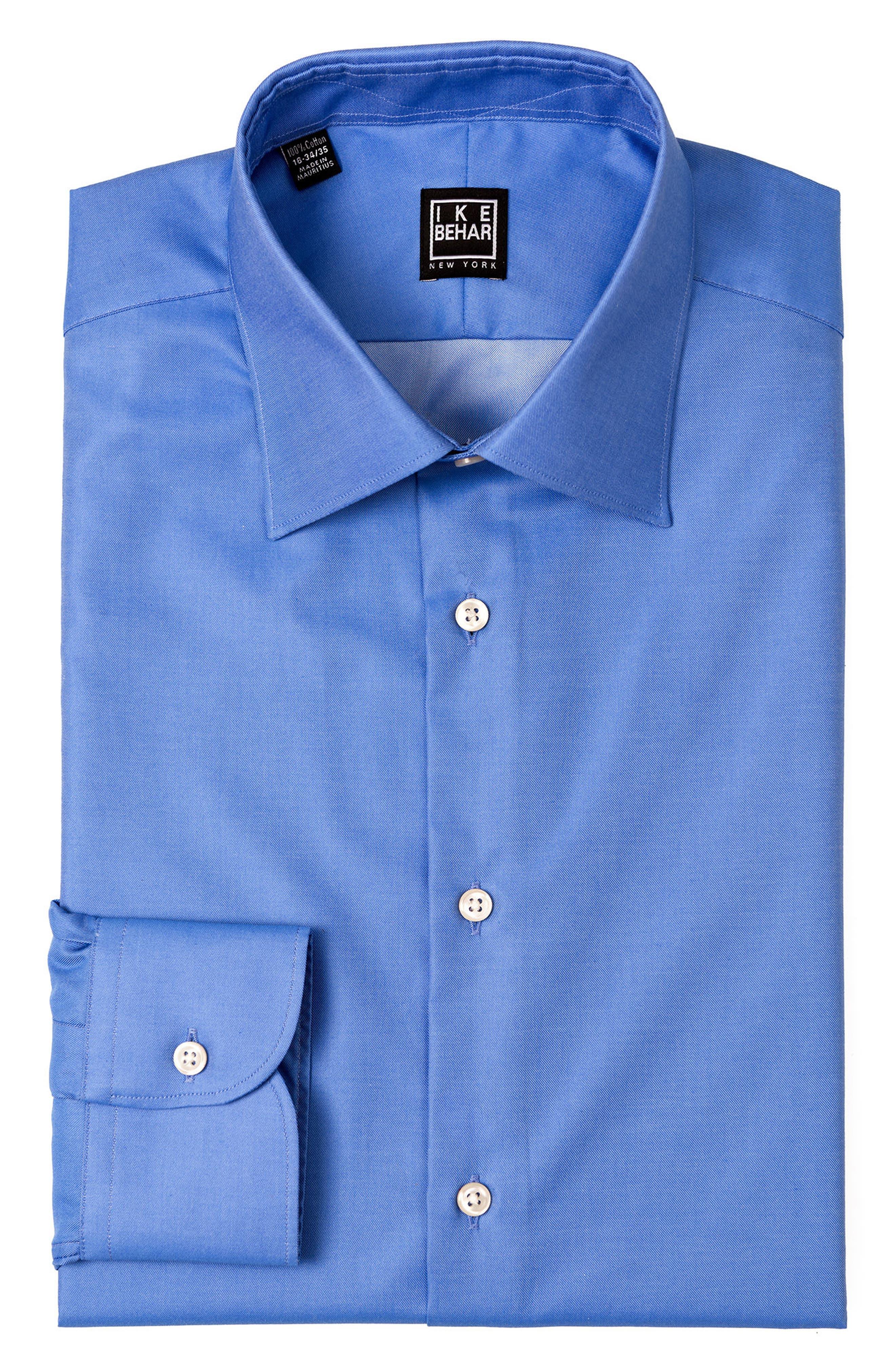 Regular Fit Solid Dress Shirt,                             Alternate thumbnail 5, color,                             DARK BLUE