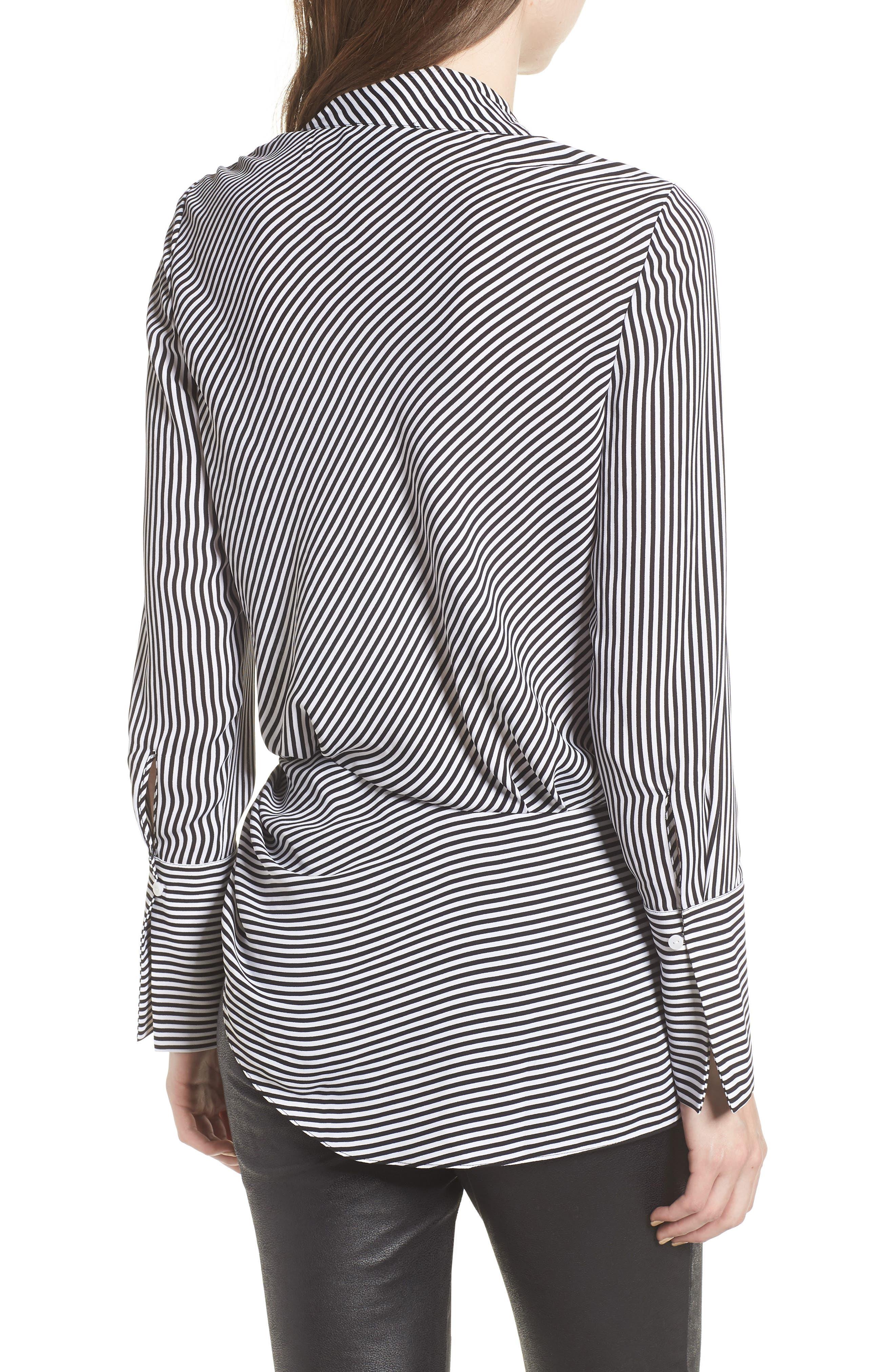 Long Sleeve Wrap Blouse,                             Alternate thumbnail 2, color,                             BLACK- WHITE STRIPE