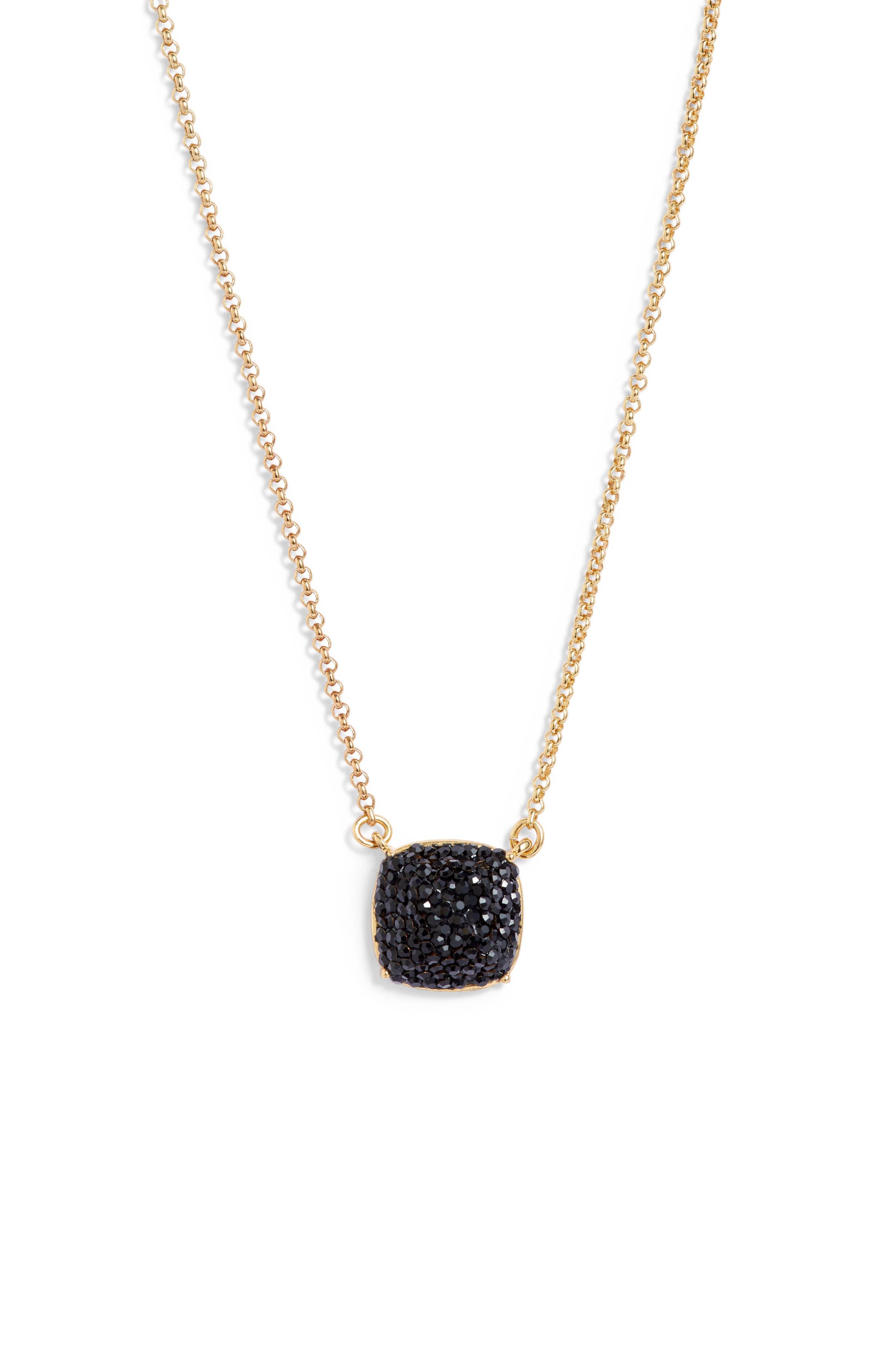 small square pavé pendant necklace, Main, color, JET
