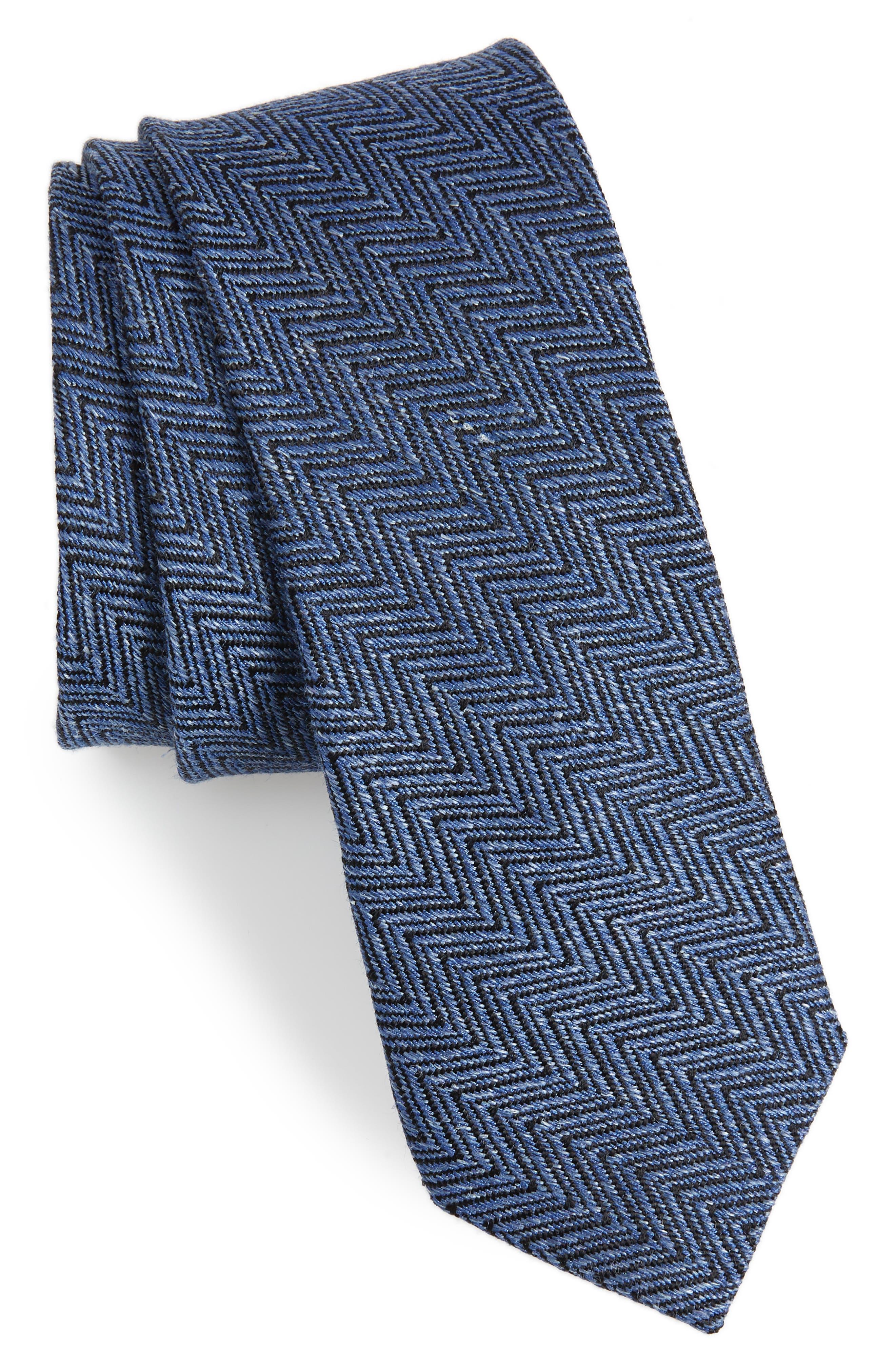 Chevron Silk & Linen Tie,                         Main,                         color, BLUE