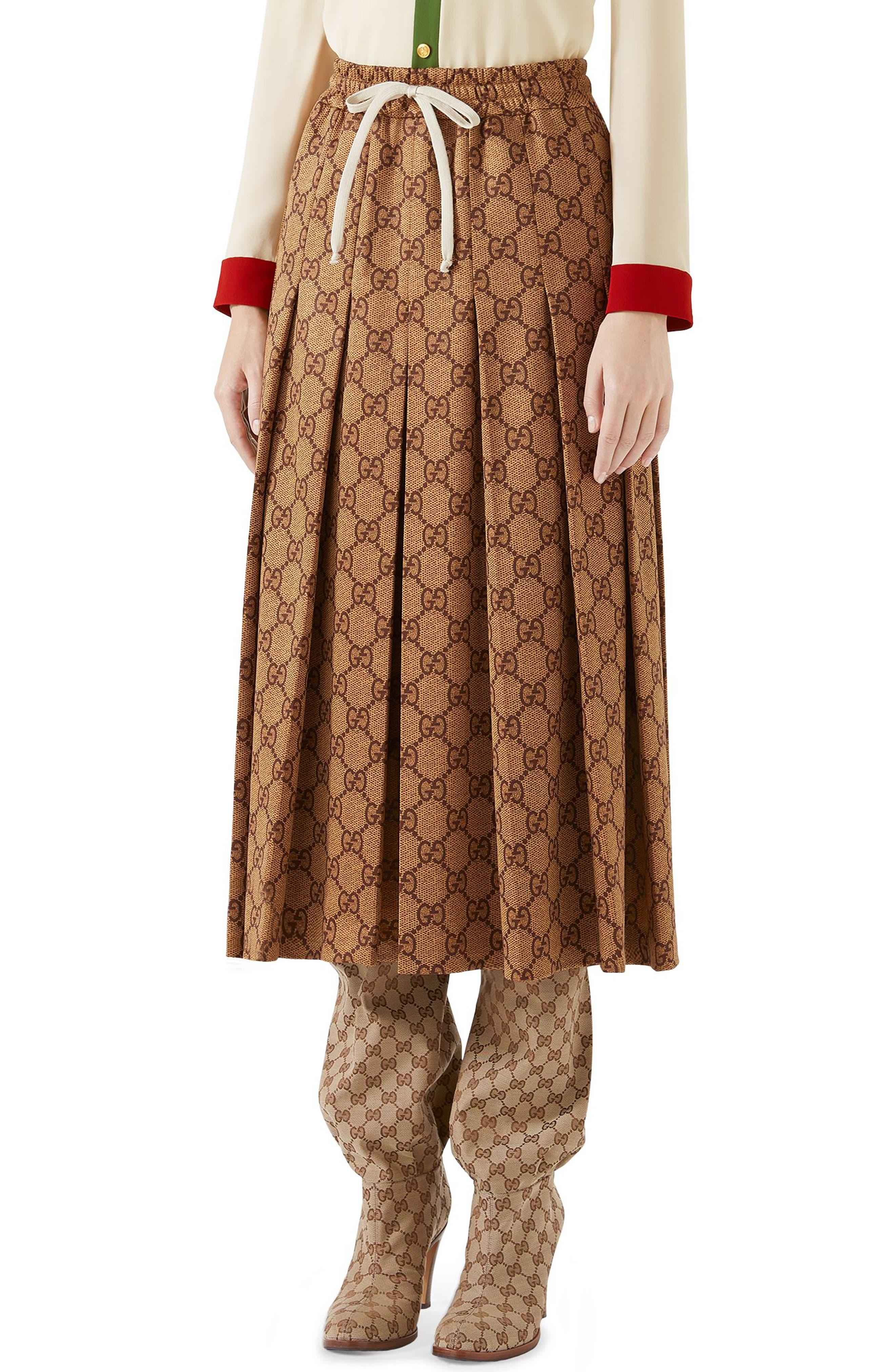 GG Print Pleated Midi Skirt,                             Main thumbnail 1, color,                             VINTAGE CAMEL