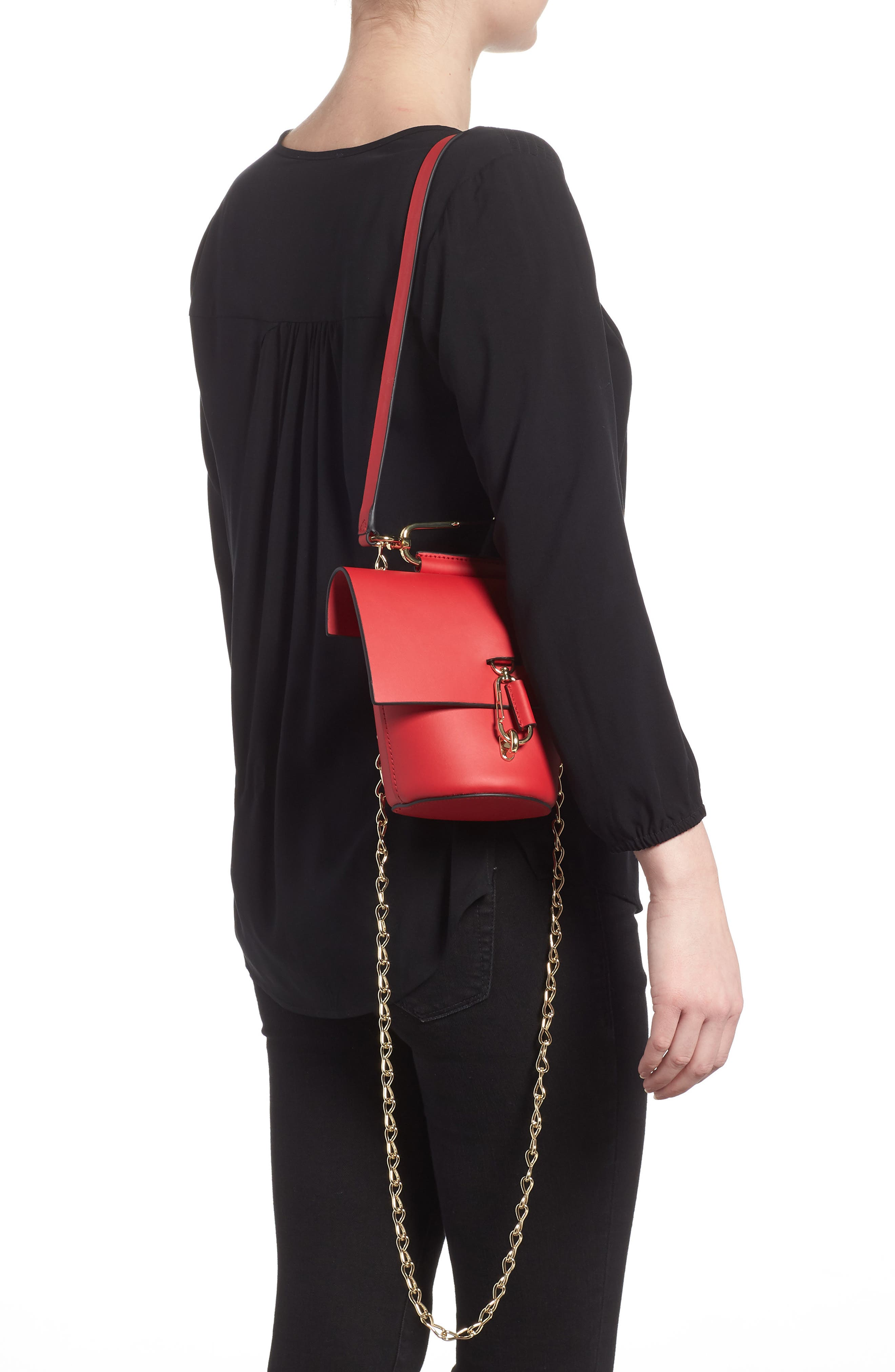 Belay Chain Calfskin Leather Crossbody Bag,                             Alternate thumbnail 8, color,