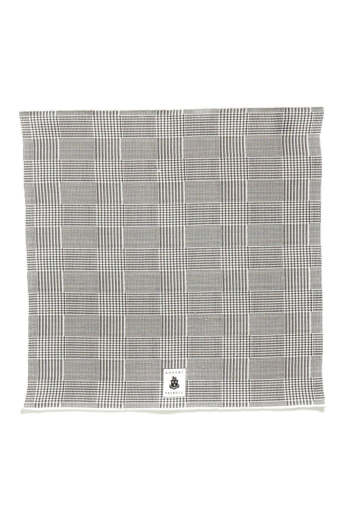 Plaid Linen Pocket Square,                             Alternate thumbnail 3, color,                             001