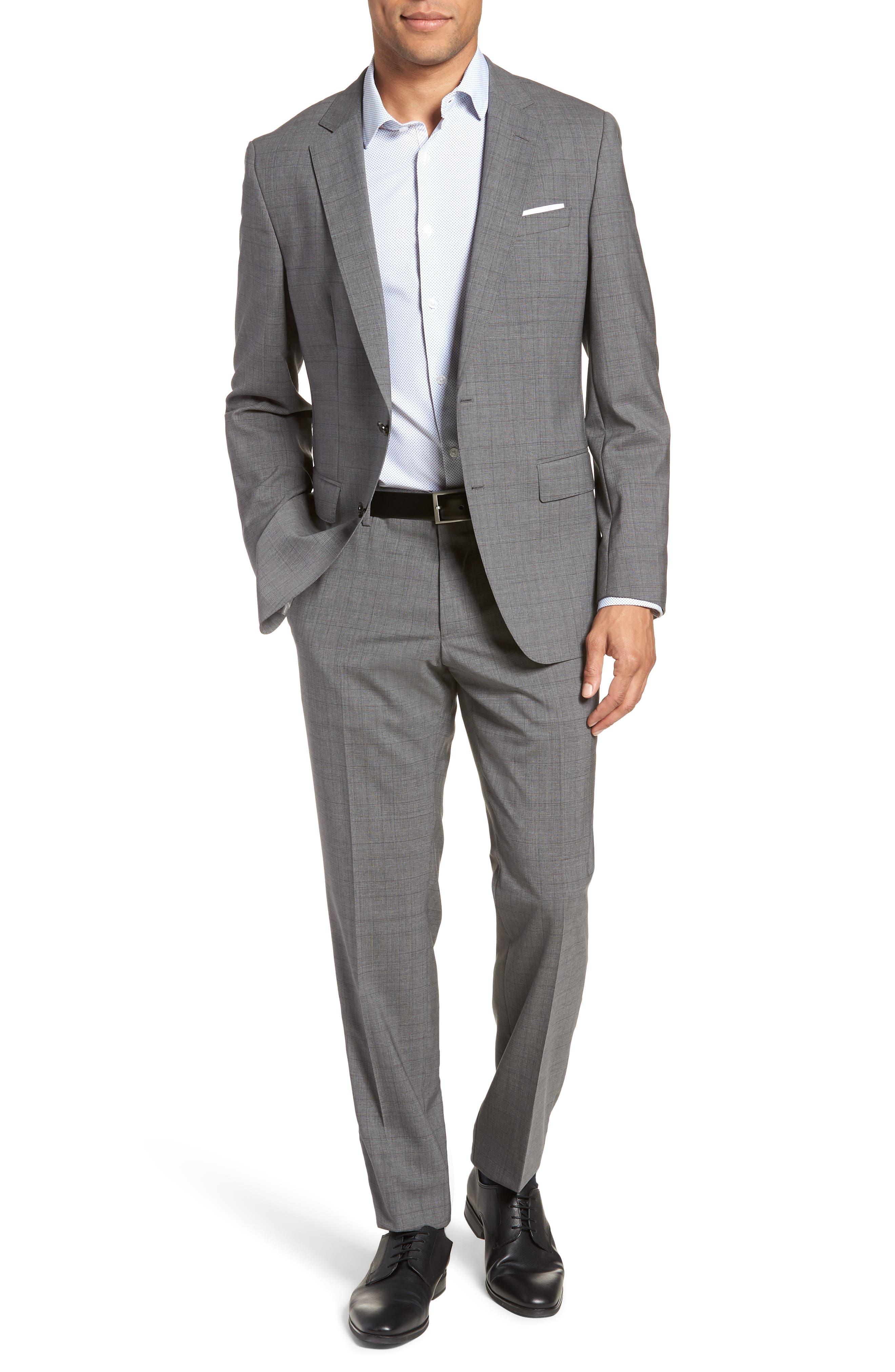 Huge/Genius Trim Fit Plaid Wool Suit,                             Main thumbnail 1, color,                             GREY