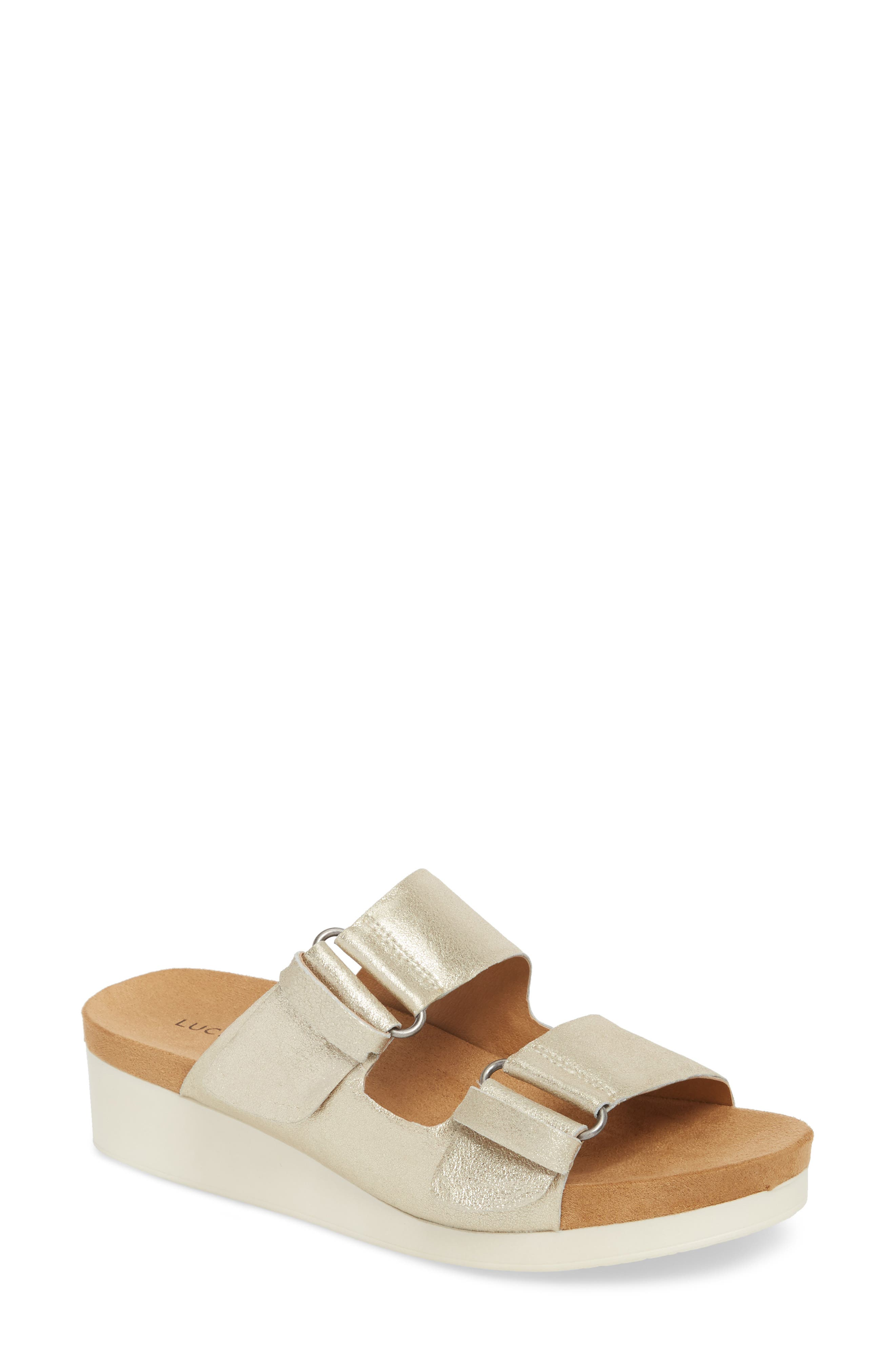Feniya Sandal,                             Main thumbnail 1, color,                             WASHED GOLD SUEDE