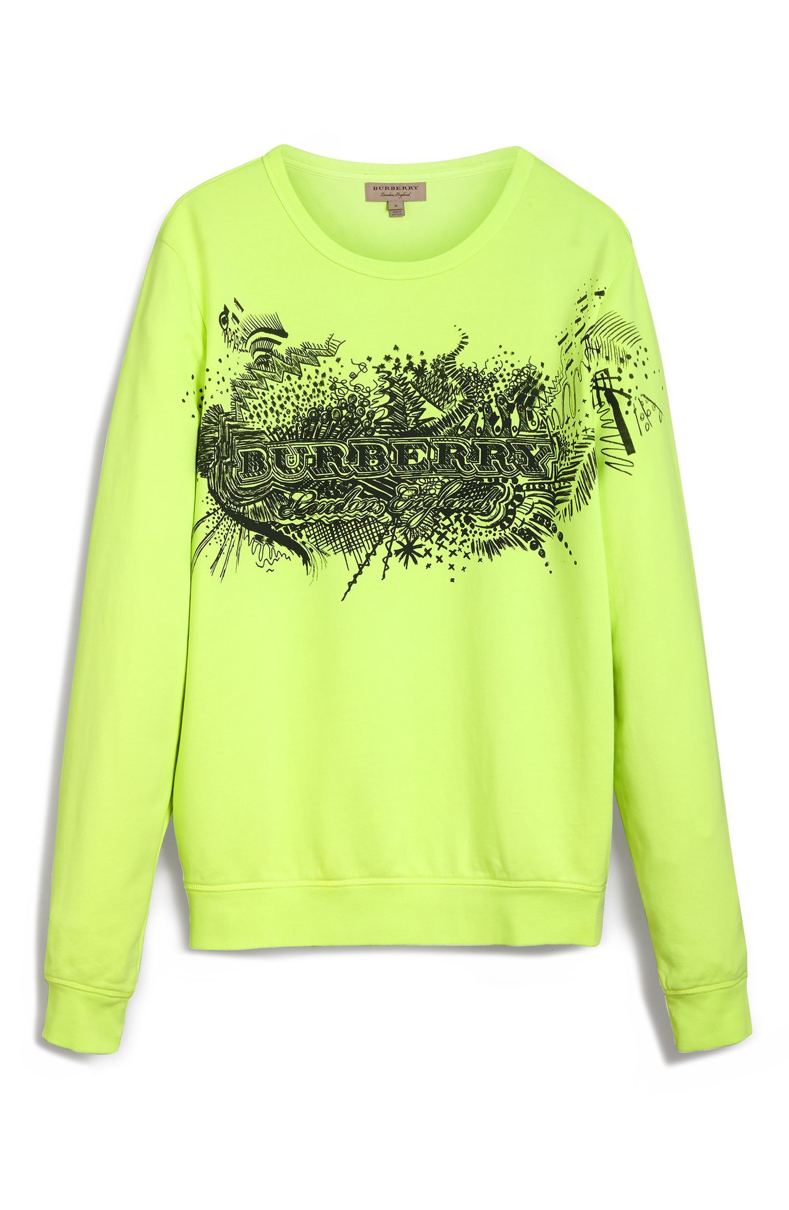 Sauer Doodle Print Cotton Sweatshirt,                             Alternate thumbnail 4, color,                             736