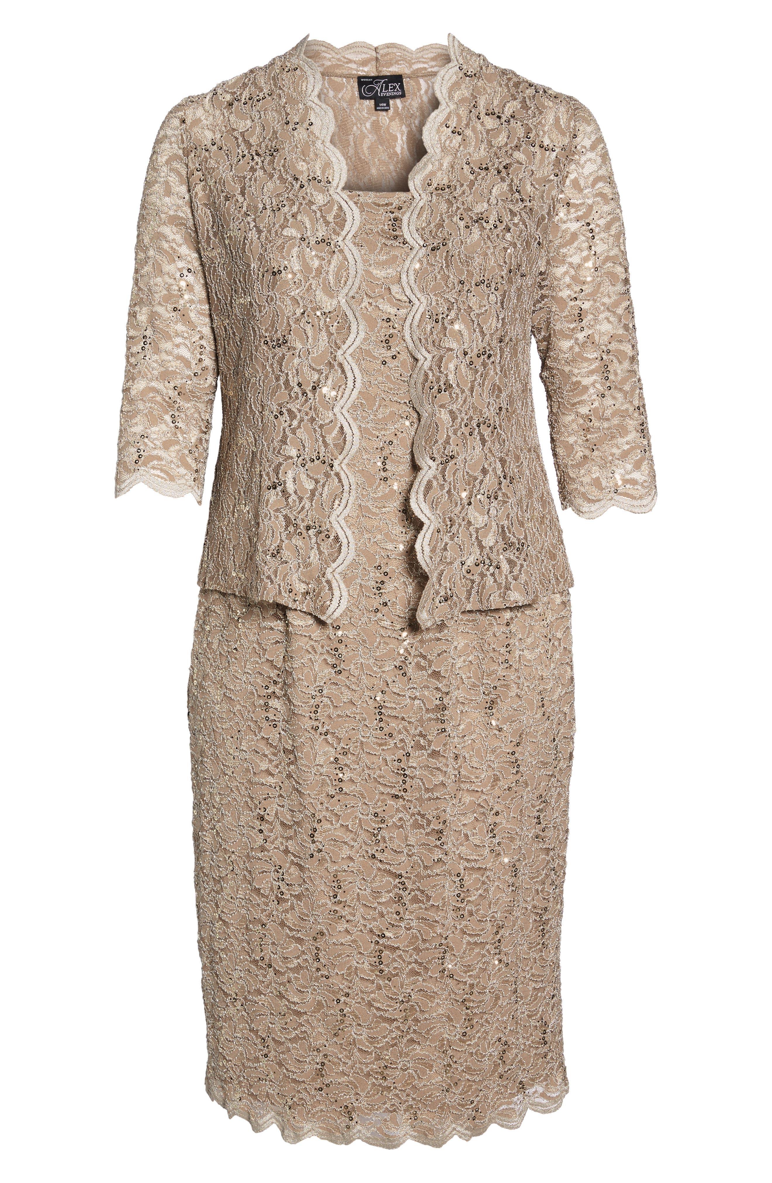 Lace Dress & Jacket,                             Alternate thumbnail 3, color,                             CHAMPAGNE