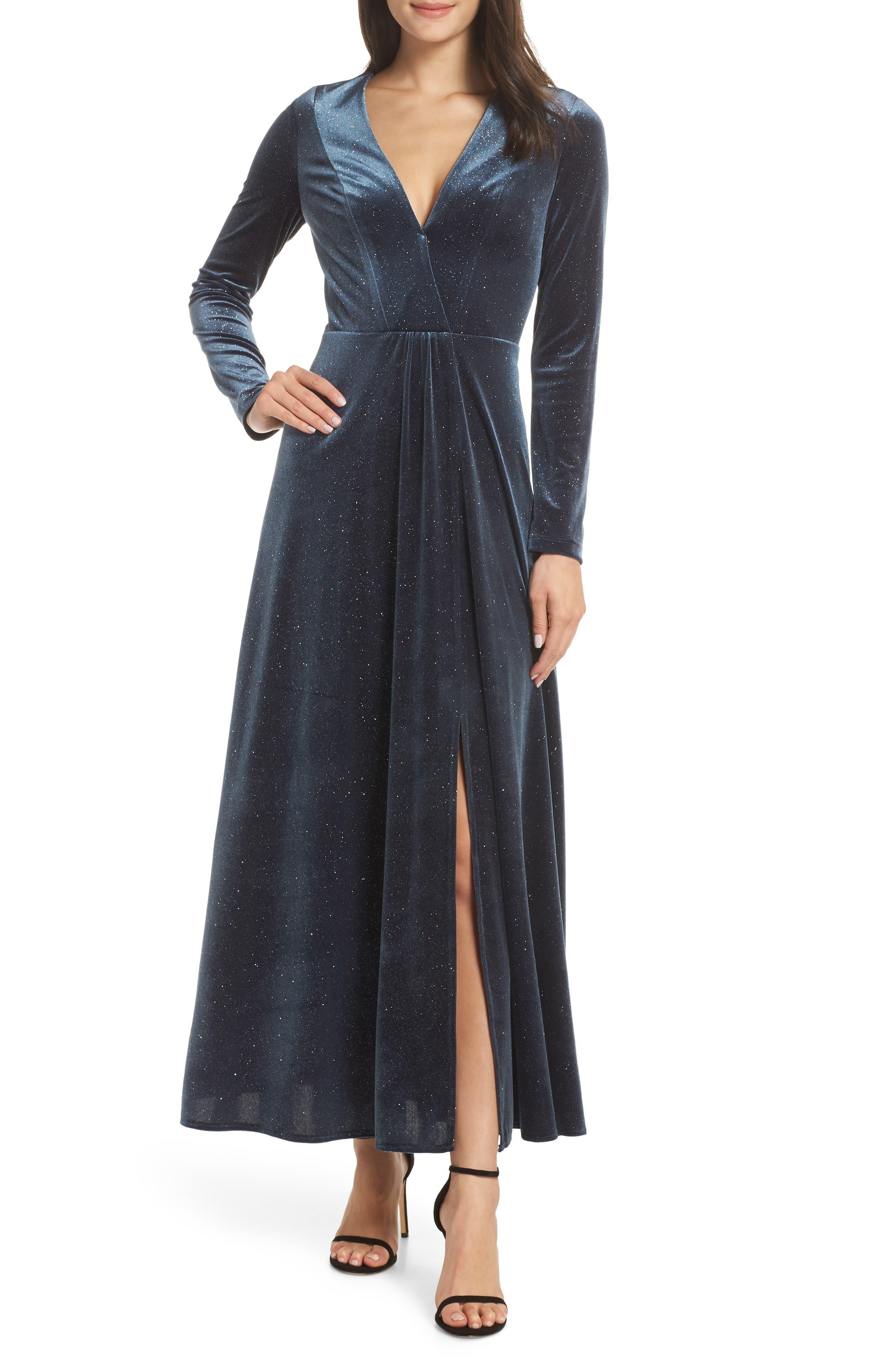 Sparkle Velvet Maxi Dress,                             Main thumbnail 1, color,                             MIDNIGHT