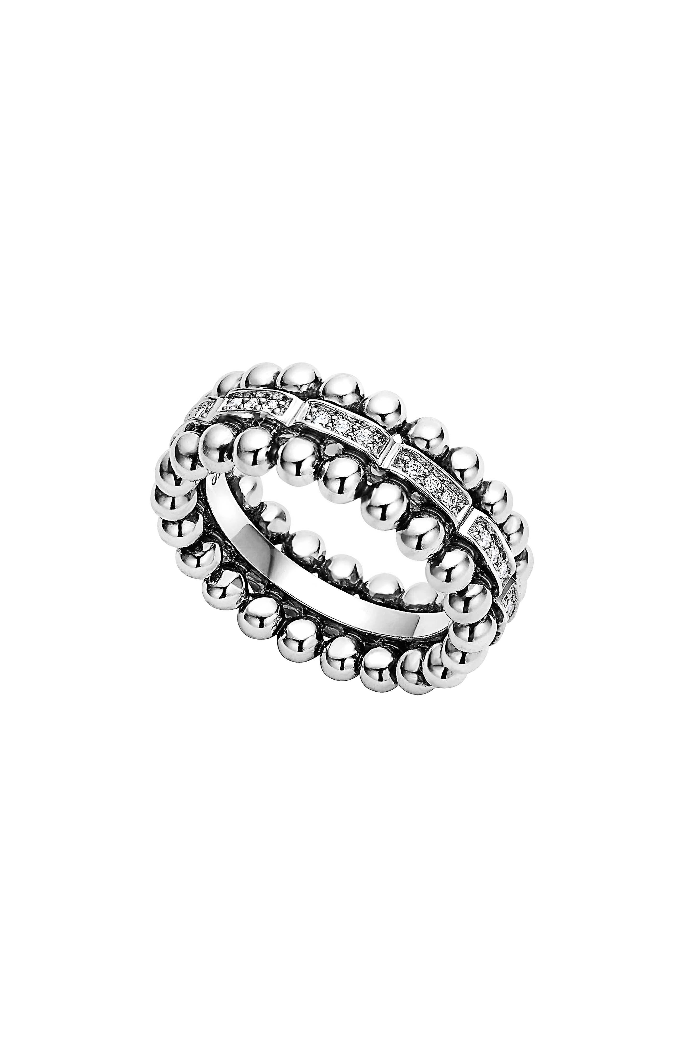 Caviar Spark Diamond Band Ring,                         Main,                         color, SILVER/ DIAMOND