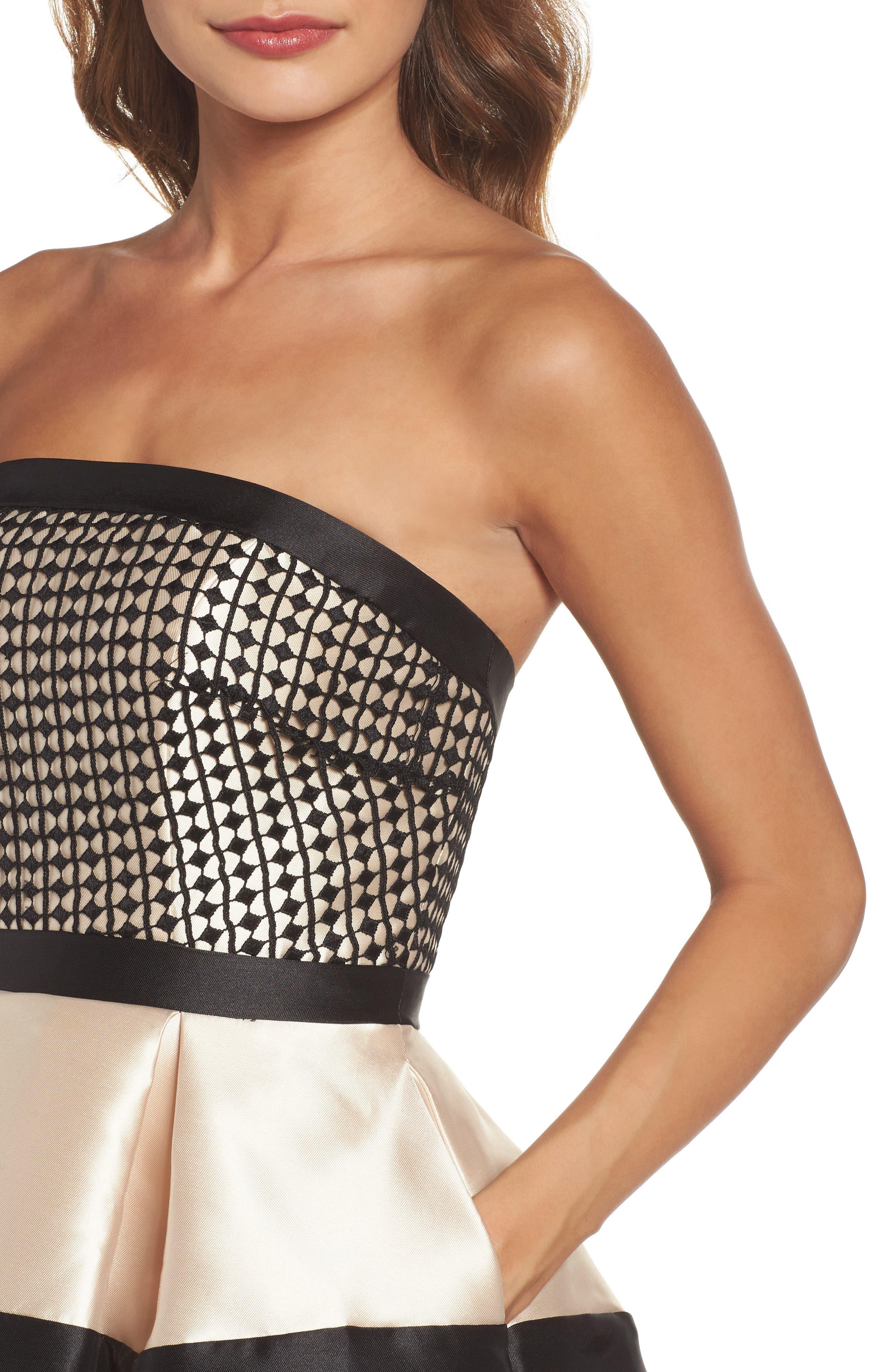 Crochet & Satin Fit & Flare Dress,                             Alternate thumbnail 4, color,