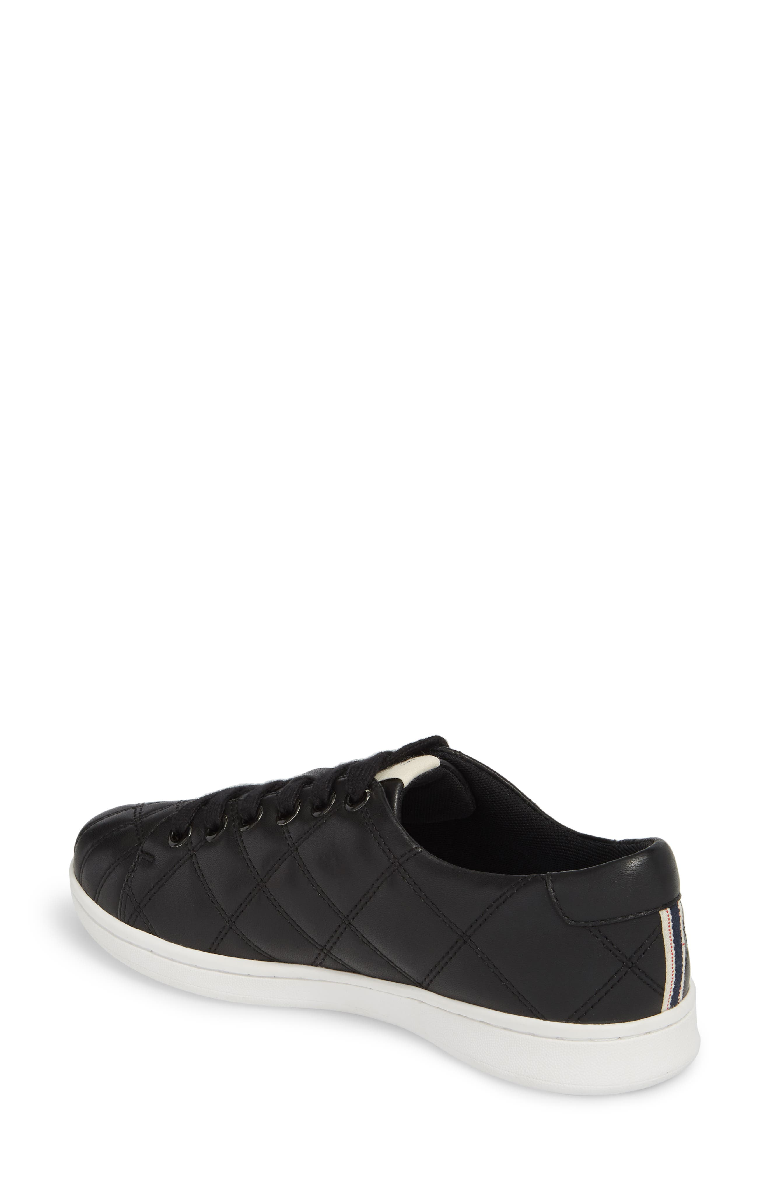 Crowley Quilted Sneaker,                             Alternate thumbnail 2, color,                             BLACK LEATHER