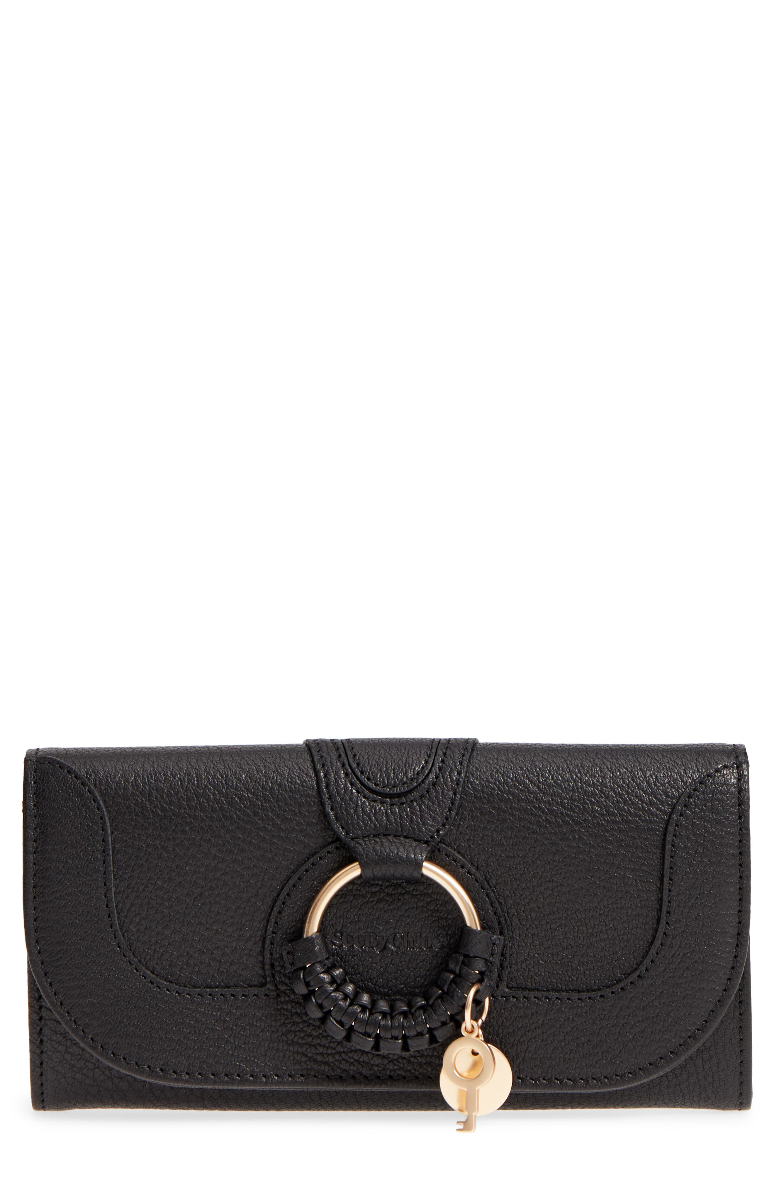 SEE BY CHLOÉ Hana Large Leather Wallet, Main, color, 001