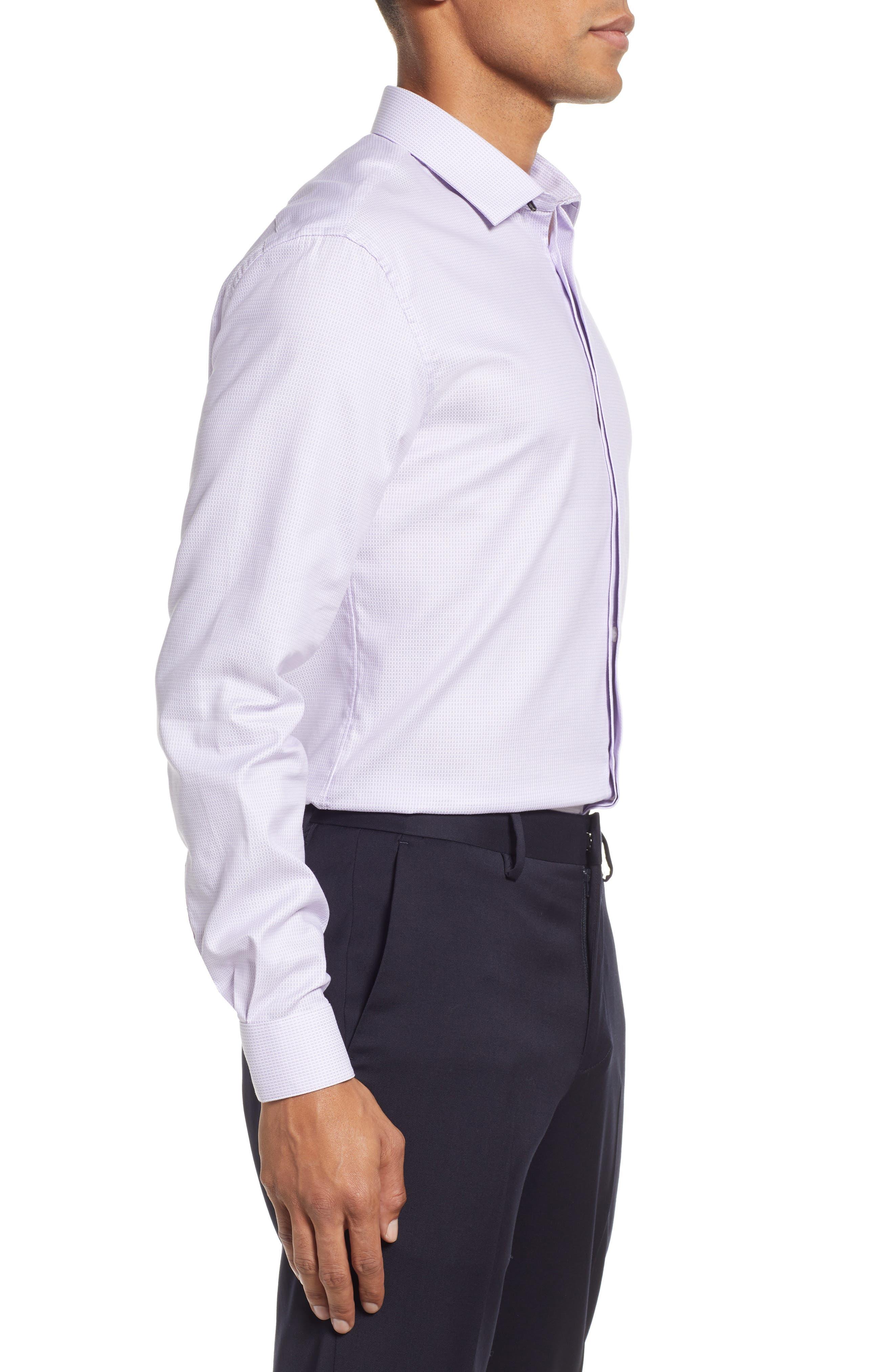 Slim Fit Stretch Check Dress Shirt,                             Alternate thumbnail 4, color,                             LAVENDER