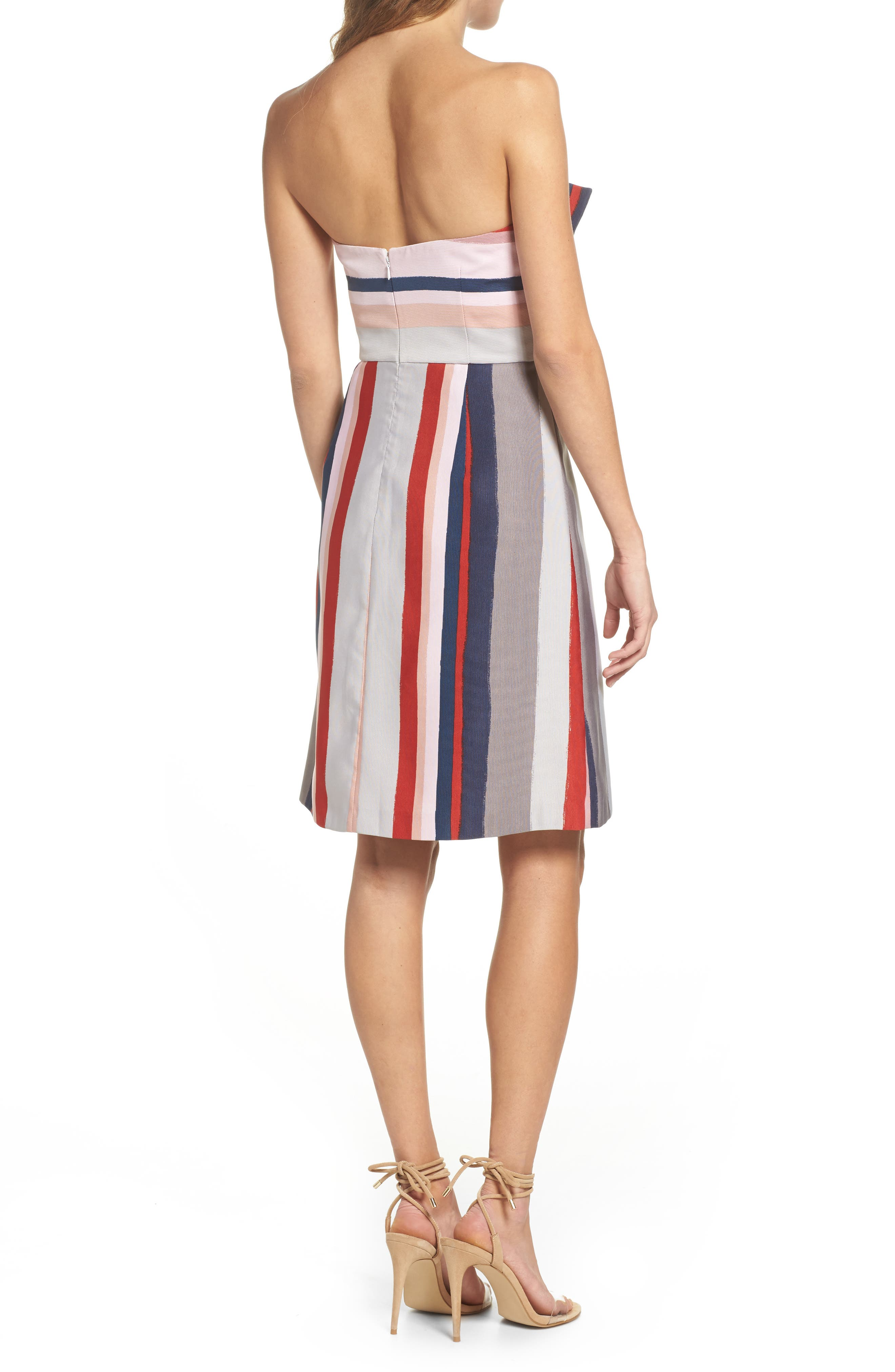 Stripe Strapless Dress,                             Alternate thumbnail 2, color,                             PINK/ GREY