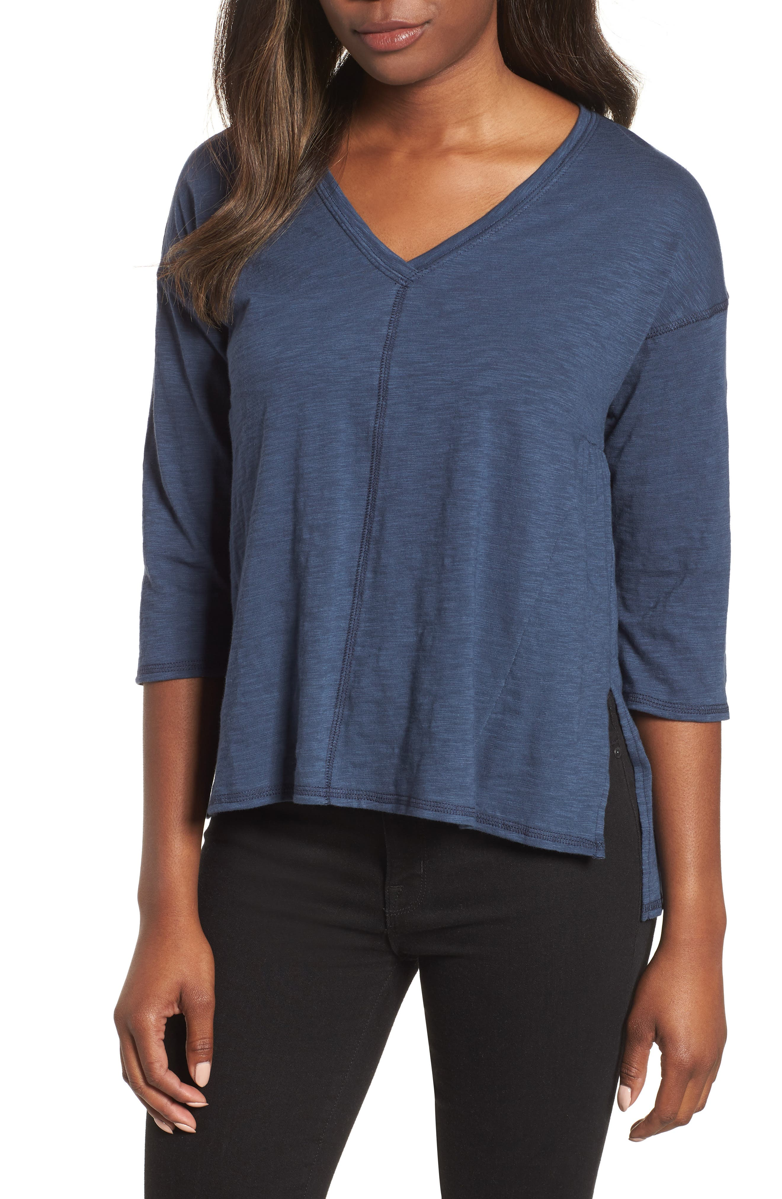 Off-Duty Cotton Three-Quarter Sleeve Tee,                             Main thumbnail 2, color,