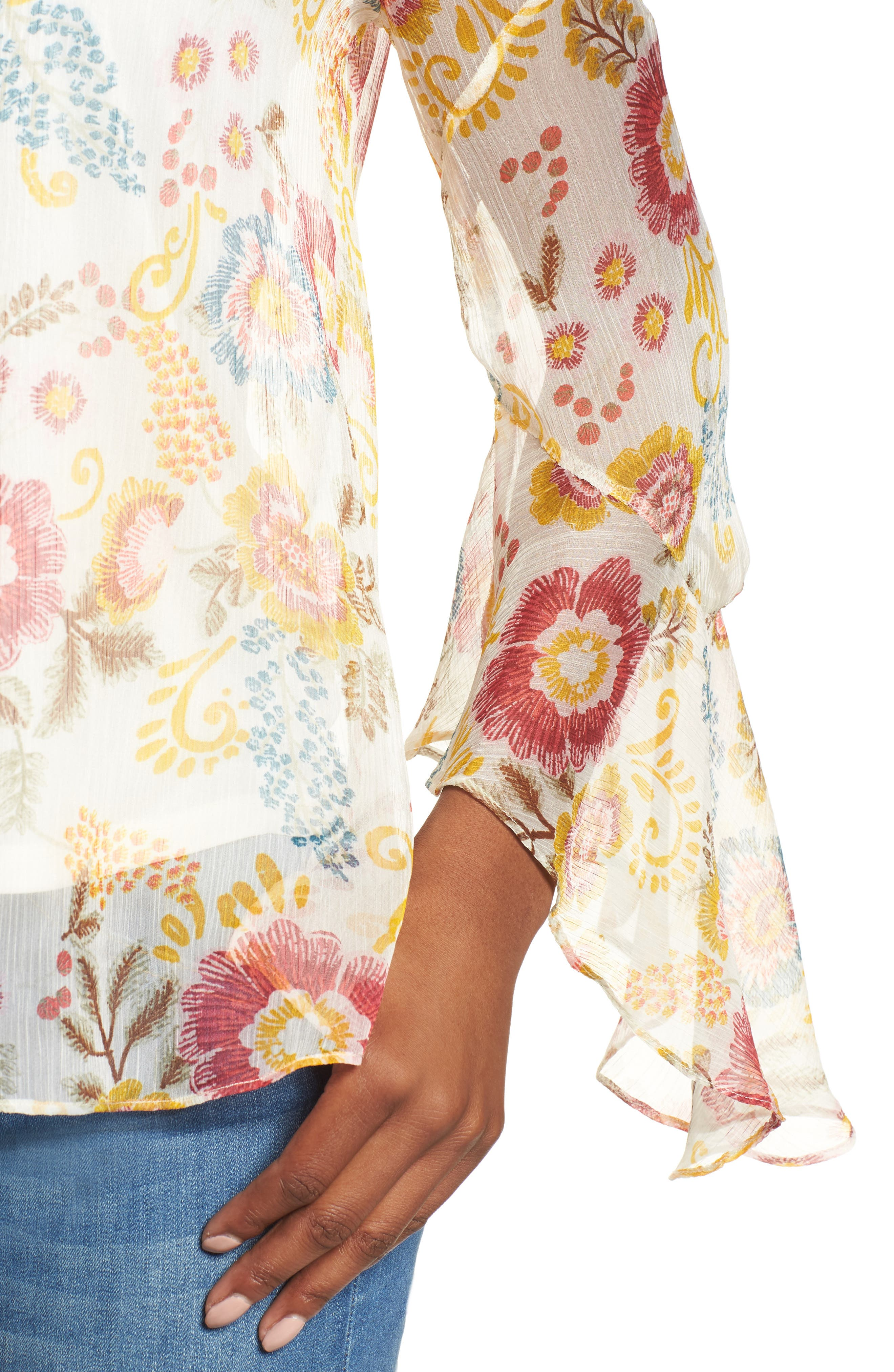 Flared Sleeve Floral Top,                             Alternate thumbnail 12, color,